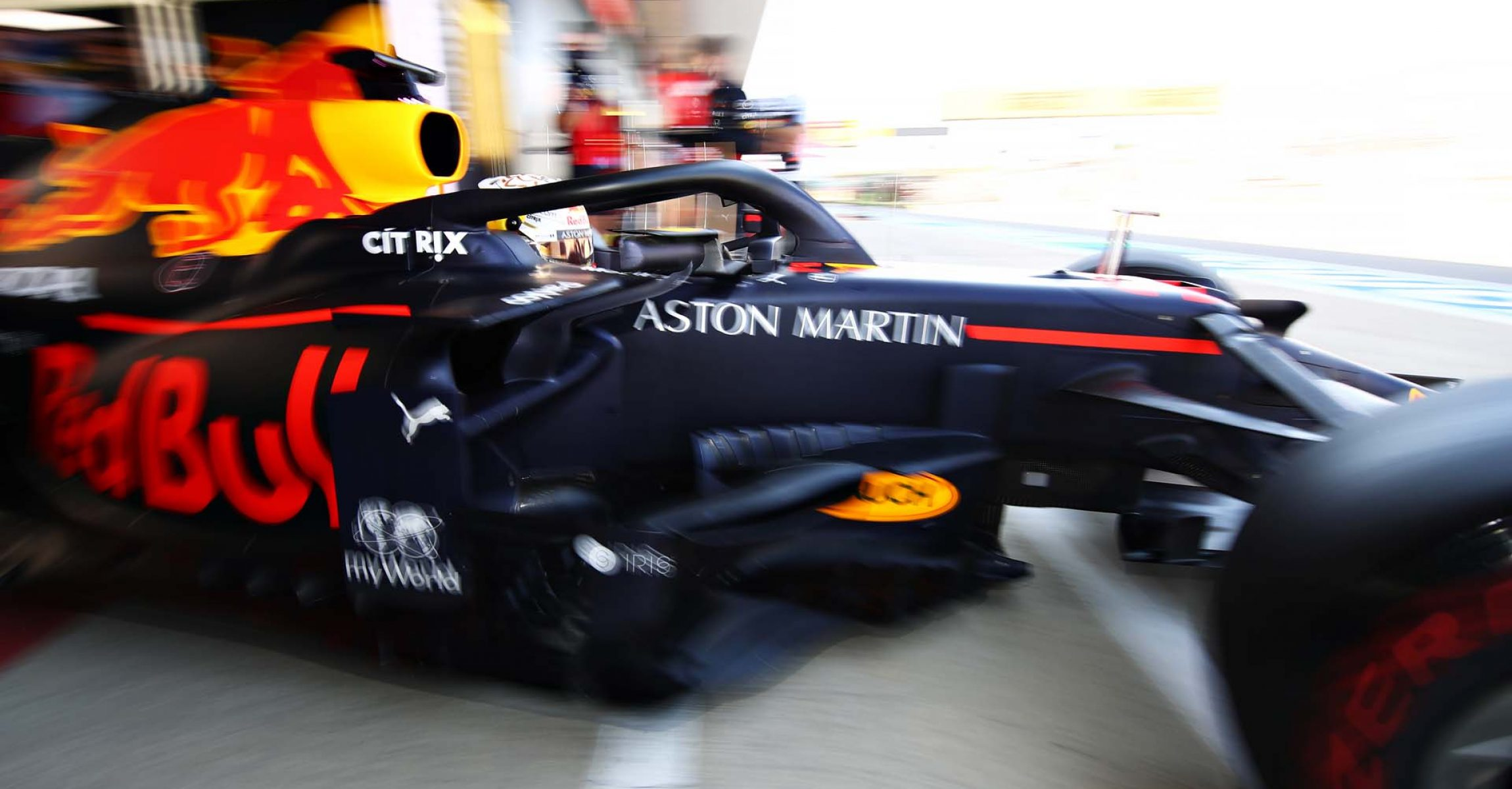 NORTHAMPTON, ENGLAND - JULY 31: Max Verstappen of the Netherlands driving the (33) Aston Martin Red Bull Racing RB16 leaves the garage during practice for the F1 Grand Prix of Great Britain at Silverstone on July 31, 2020 in Northampton, England. (Photo by Mark Thompson/Getty Images,)