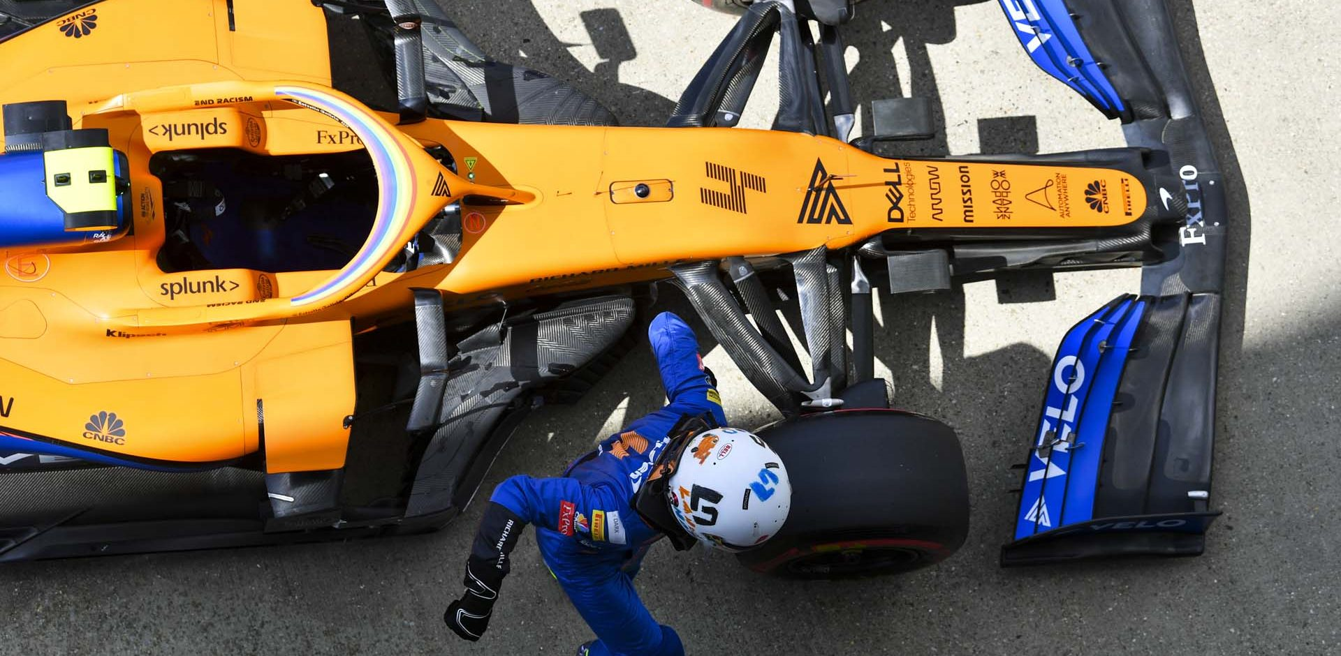 Lando Norris, McLaren MCL35, arrives in Parc Ferme after Qualifying