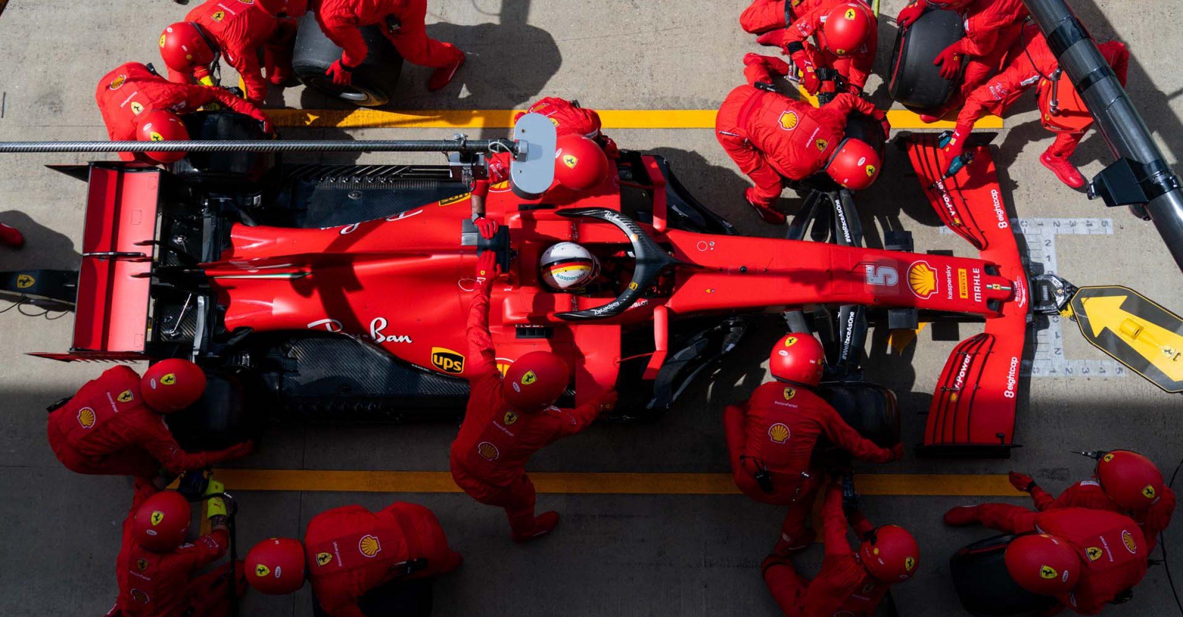 GP GRAN BRETAGNA  F1/2020 -  DOMENICA 02/08/2020  credit: @Scuderia Ferrari Press Office Sebastian Vettel  pit stop