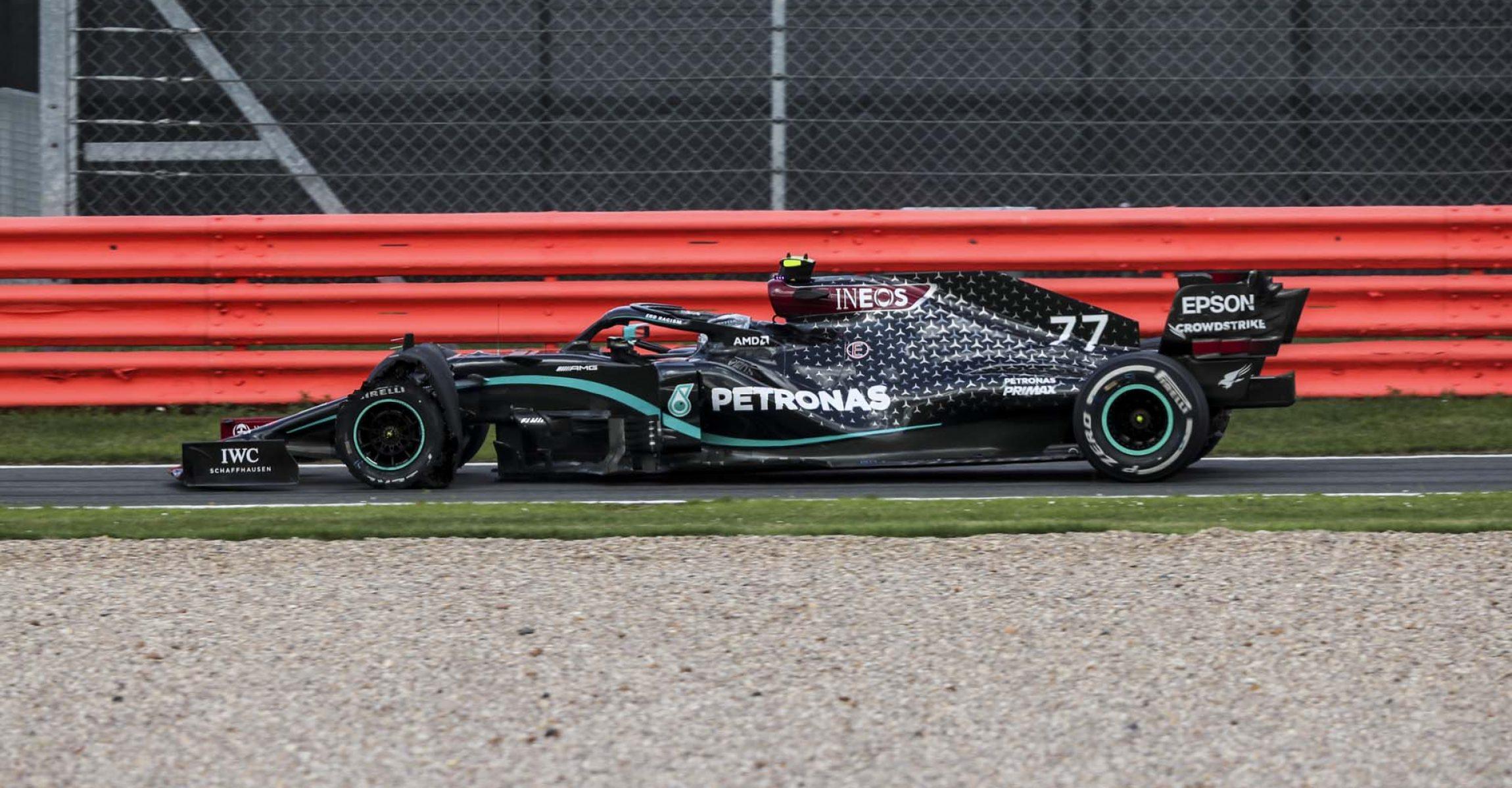 2020 British Grand Prix,Sunday - LAT Images Valtteri Bottas puncture Mercedes