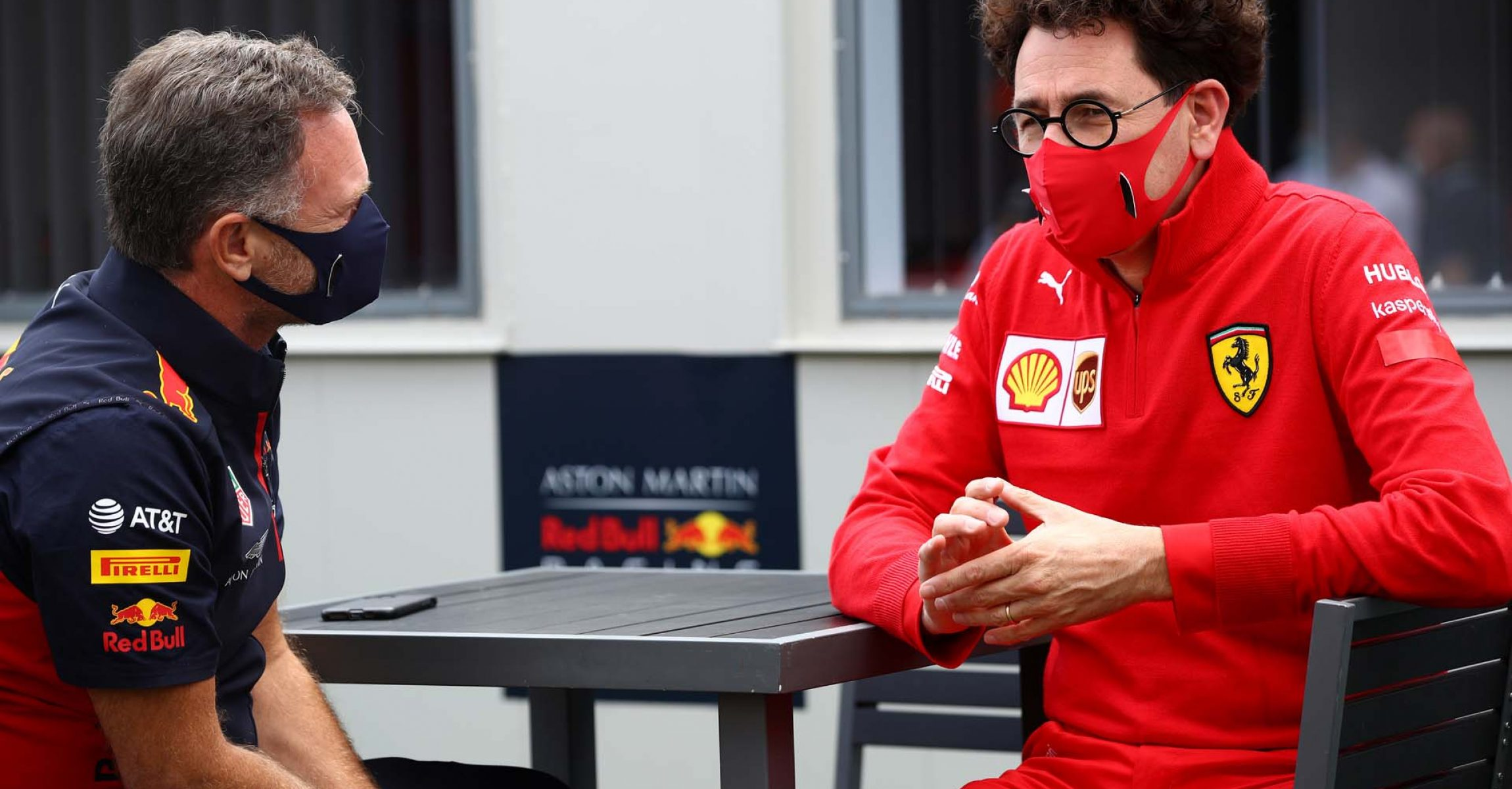 NORTHAMPTON, ENGLAND - AUGUST 02: Red Bull Racing Team Principal Christian Horner and Scuderia Ferrari Team Principal Mattia Binotto talk in the Paddock before the F1 Grand Prix of Great Britain at Silverstone on August 02, 2020 in Northampton, England. (Photo by Mark Thompson/Getty Images)