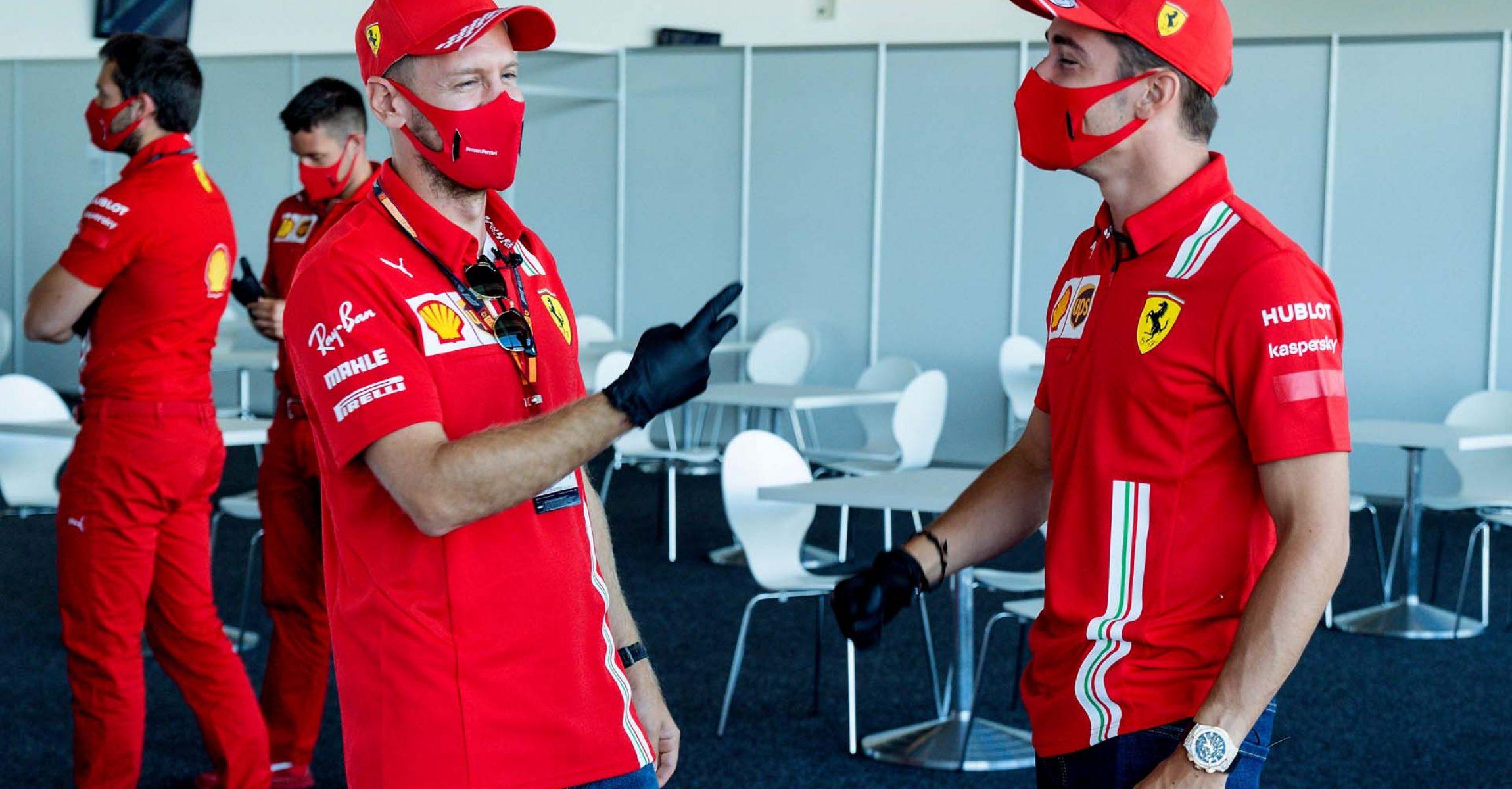 GP GRAN BRETAGNA  F1/2020 -  GIOVEDÌ 30/07/2020    credit: @Scuderia Ferrari Press Office Charles Leclerc Sebastian Vettel