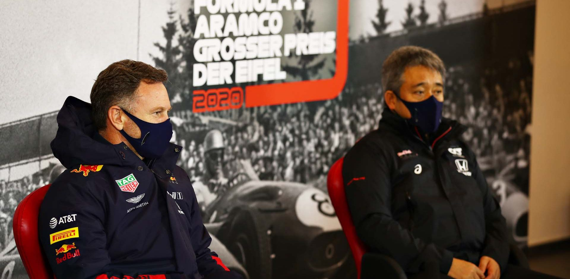 NUERBURG, GERMANY - OCTOBER 09: Red Bull Racing Team Principal Christian Horner and Masashi Yamamoto of Honda talk in the Team Principals Press Conference during practice ahead of the F1 Eifel Grand Prix at Nuerburgring on October 09, 2020 in Nuerburg, Germany. (Photo by Joe Portlock/Getty Images)