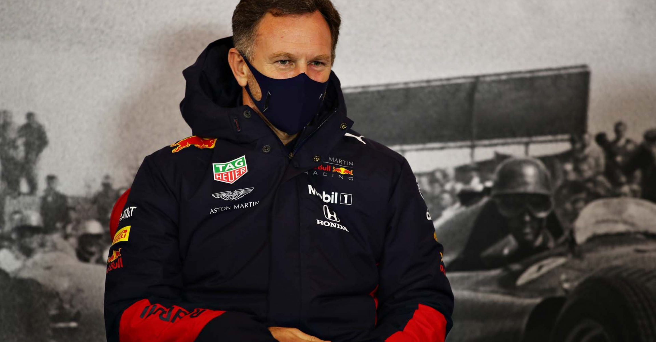 NUERBURG, GERMANY - OCTOBER 09: Red Bull Racing Team Principal Christian Horner talks in the Team Principals Press Conference during practice ahead of the F1 Eifel Grand Prix at Nuerburgring on October 09, 2020 in Nuerburg, Germany. (Photo by Joe Portlock/Getty Images)