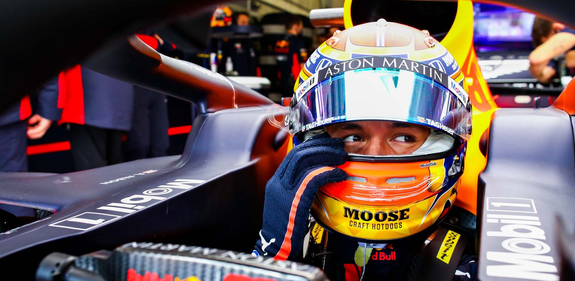 NUERBURG, GERMANY - OCTOBER 10: Alexander Albon of Thailand and Red Bull Racing prepares to drive in the garage before final practice ahead of the F1 Eifel Grand Prix at Nuerburgring on October 10, 2020 in Nuerburg, Germany. (Photo by Mark Thompson/Getty Images)