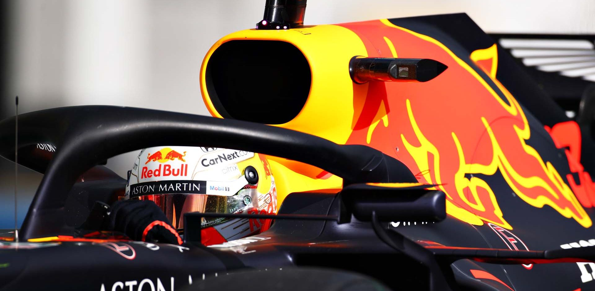 NUERBURG, GERMANY - OCTOBER 10: Max Verstappen of the Netherlands driving the (33) Aston Martin Red Bull Racing RB16 in the Pitlane during final practice ahead of the F1 Eifel Grand Prix at Nuerburgring on October 10, 2020 in Nuerburg, Germany. (Photo by Mark Thompson/Getty Images)