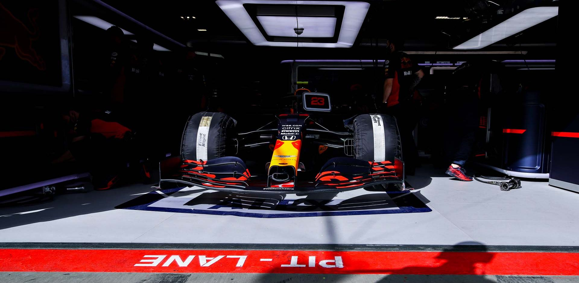 NUERBURG, GERMANY - OCTOBER 10: Alexander Albon of Thailand and Red Bull Racing prepares to drive in the garage during final practice ahead of the F1 Eifel Grand Prix at Nuerburgring on October 10, 2020 in Nuerburg, Germany. (Photo by Mark Thompson/Getty Images)
