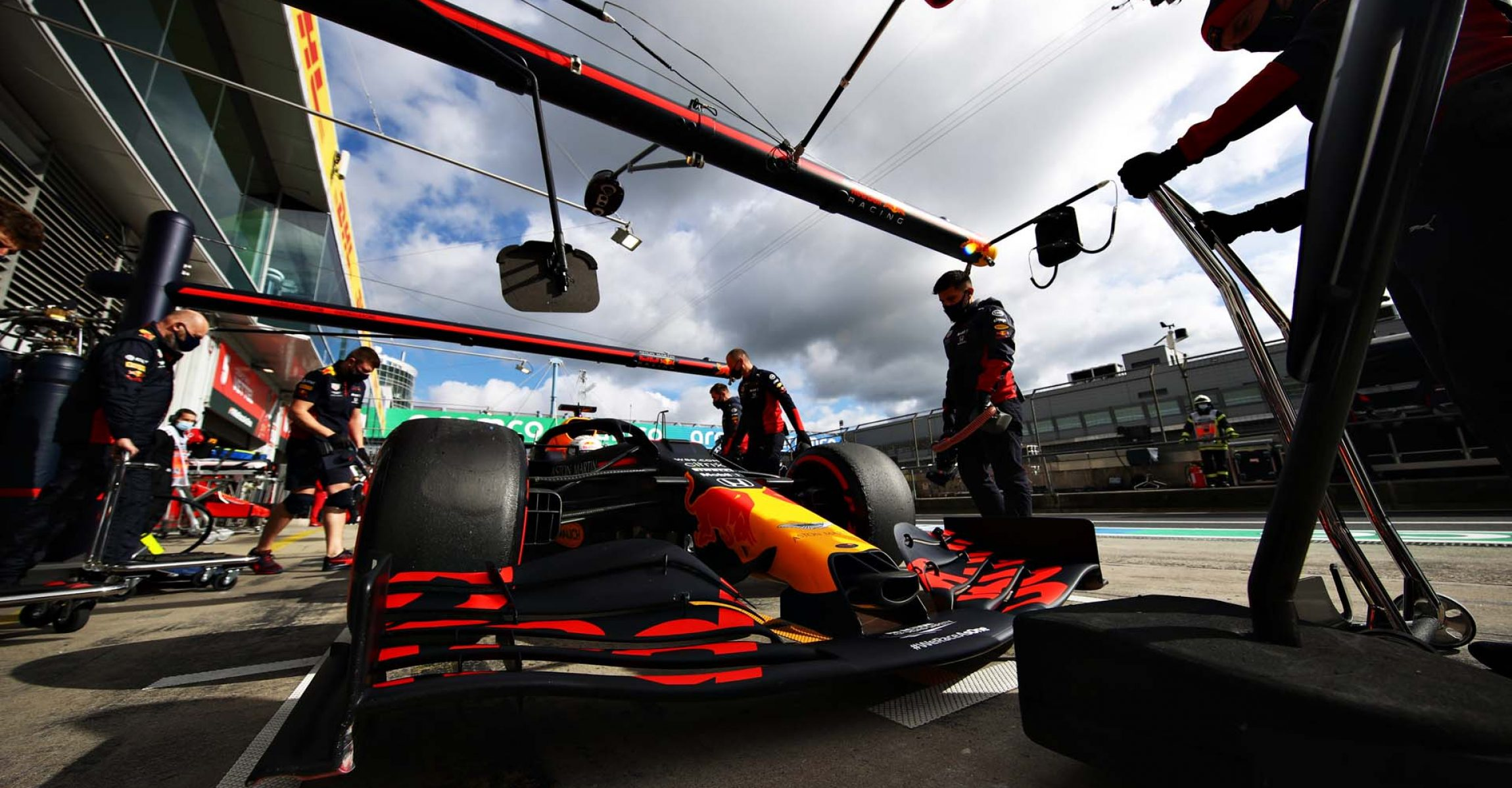 NUERBURG, GERMANY - OCTOBER 10: Max Verstappen of the Netherlands driving the (33) Aston Martin Red Bull Racing RB16 stops in the Pitlane during final practice ahead of the F1 Eifel Grand Prix at Nuerburgring on October 10, 2020 in Nuerburg, Germany. (Photo by Mark Thompson/Getty Images)
