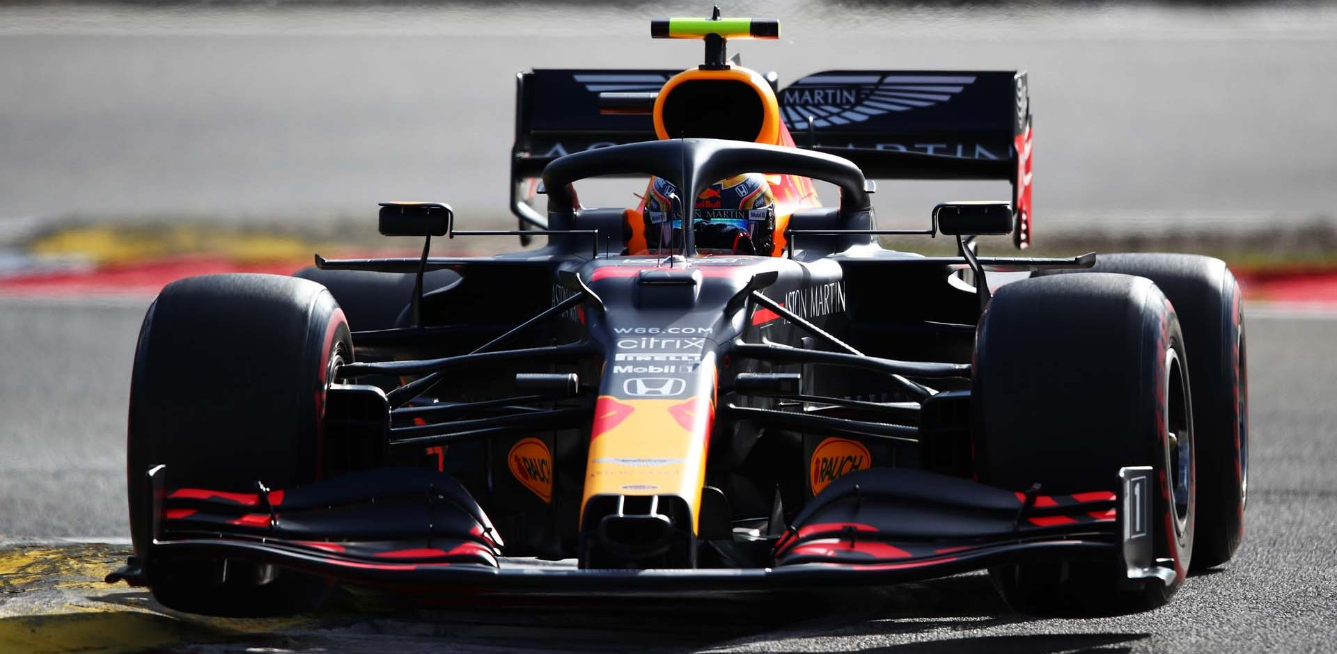 NUERBURG, GERMANY - OCTOBER 10: Alexander Albon of Thailand driving the (23) Aston Martin Red Bull Racing RB16 on track during qualifying ahead of the F1 Eifel Grand Prix at Nuerburgring on October 10, 2020 in Nuerburg, Germany. (Photo by Joe Portlock/Getty Images)