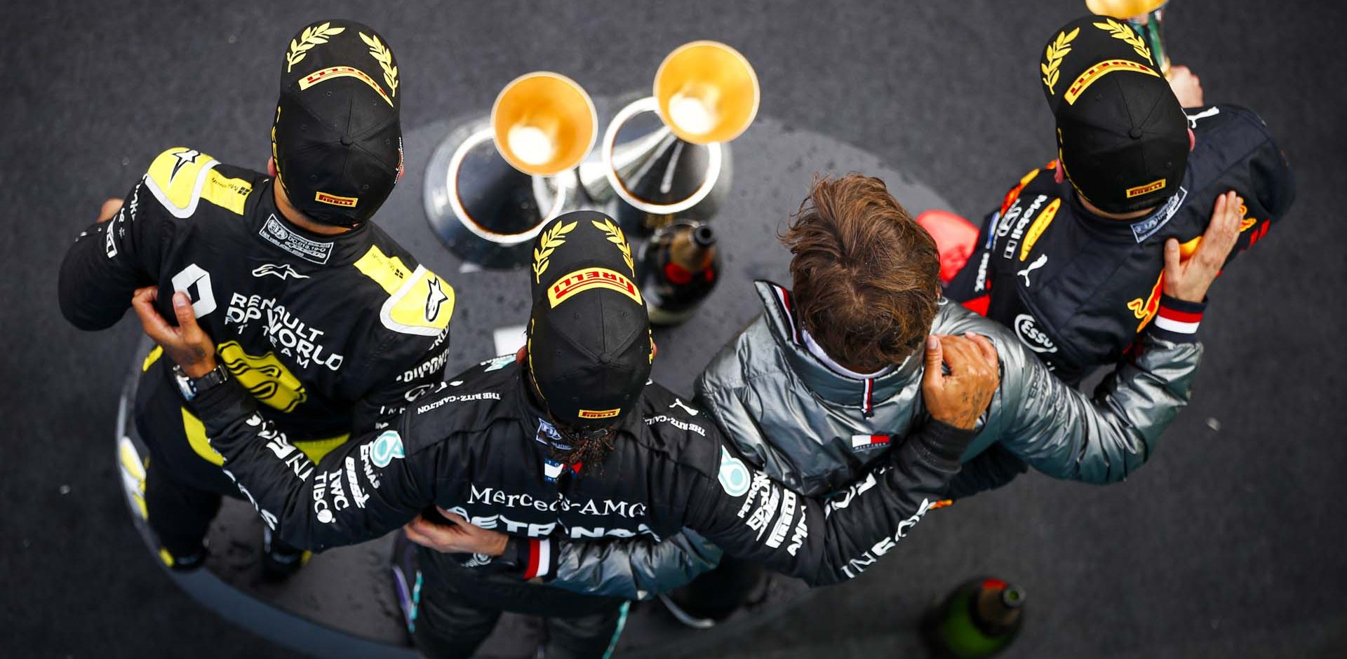 2020 Eifel Grand Prix, Sunday - LAT Images Lewis Hamilton Daniel Ricciardo Max Verstappen podium