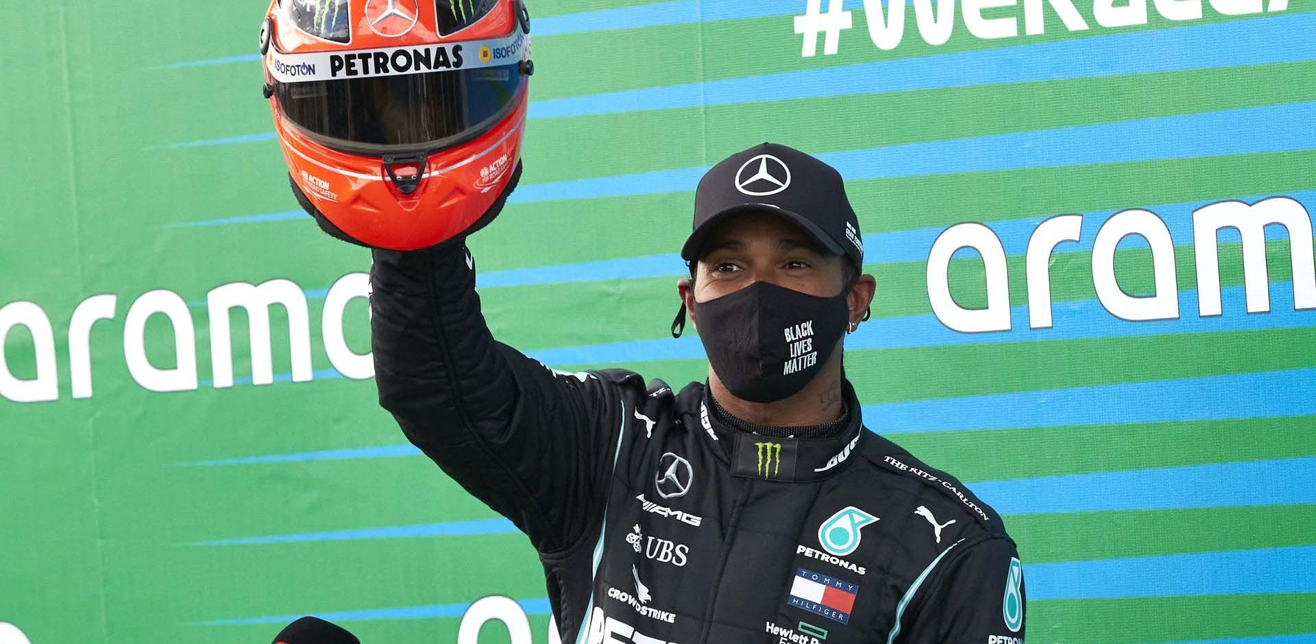 2020 Eifel Grand Prix, Sunday - Steve Etherington Lewis Hamilton Mercedes Michael Schumacher's helmet