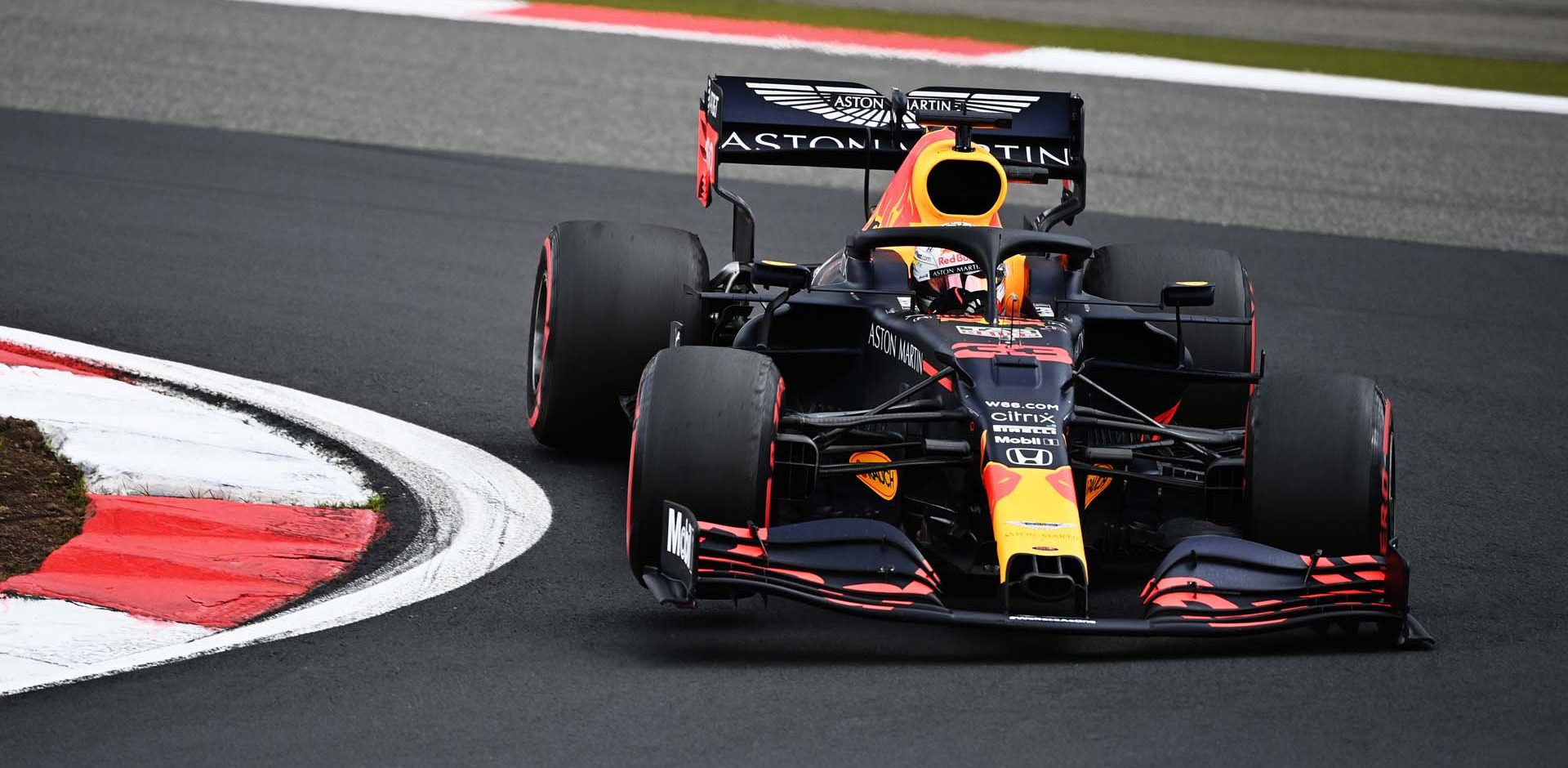 NUERBURG, GERMANY - OCTOBER 11: Max Verstappen of the Netherlands driving the (33) Aston Martin Red Bull Racing RB16 on track during the F1 Eifel Grand Prix at Nuerburgring on October 11, 2020 in Nuerburg, Germany. (Photo by Ina Fassbender - Pool/Getty Images)