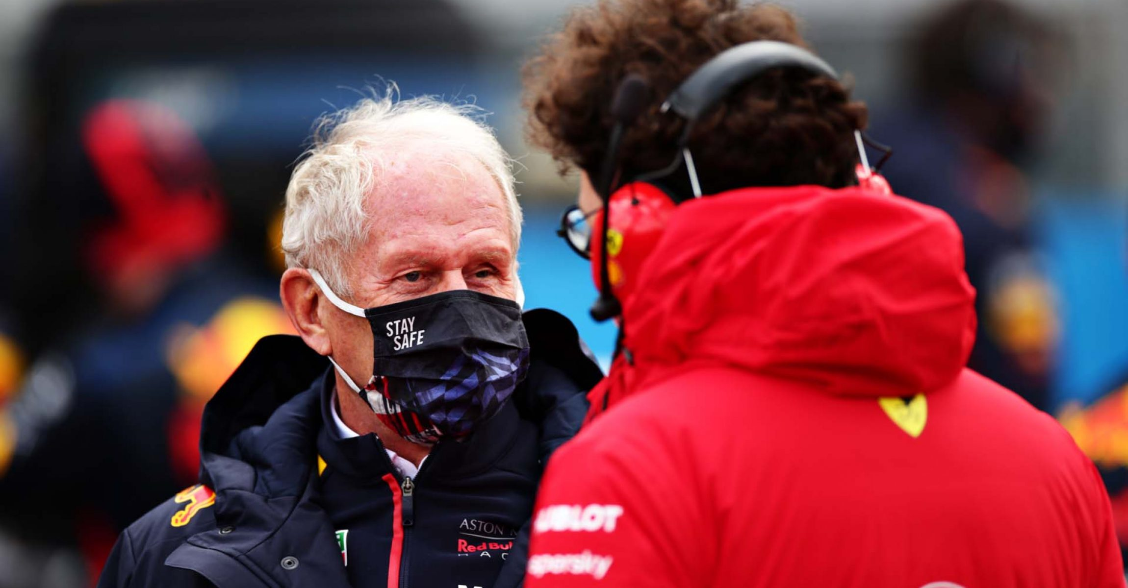 NUERBURG, GERMANY - OCTOBER 11: Red Bull Racing Team Consultant Dr Helmut Marko and Scuderia Ferrari Team Principal Mattia Binotto talk on the grid before the F1 Eifel Grand Prix at Nuerburgring on October 11, 2020 in Nuerburg, Germany. (Photo by Peter Fox/Getty Images)