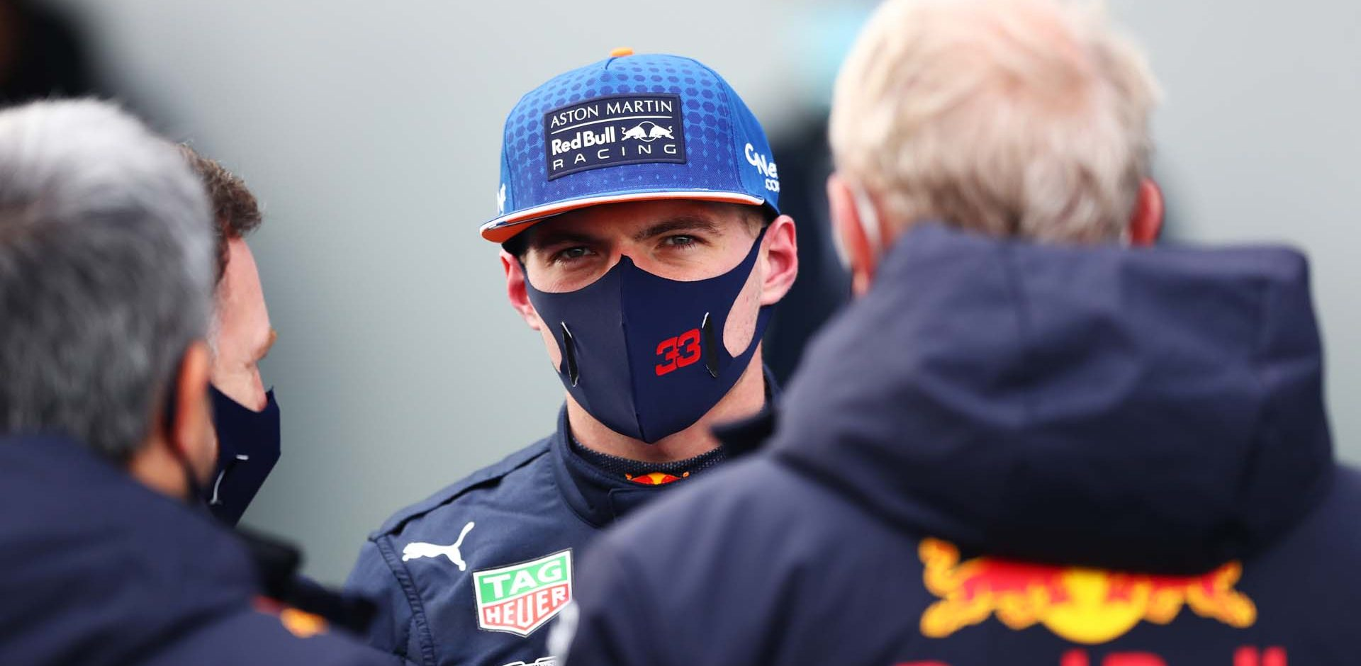 NUERBURG, GERMANY - OCTOBER 11: Second placed Max Verstappen of Netherlands and Red Bull Racing looks on in parc ferme during the F1 Eifel Grand Prix at Nuerburgring on October 11, 2020 in Nuerburg, Germany. (Photo by Matthias Schrader - Pool/Getty Images)