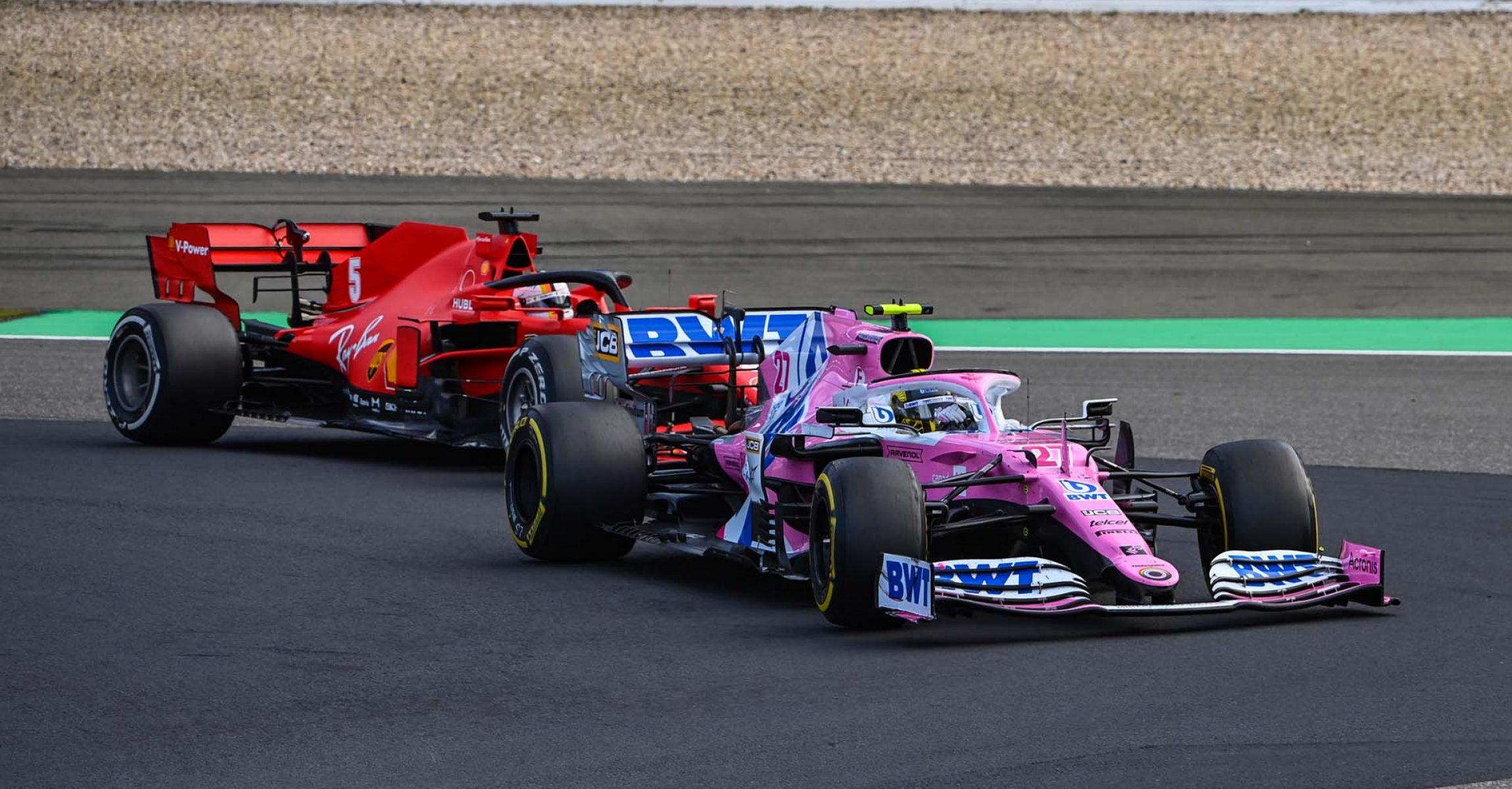 Nico Hülkenberg, Racing Point RP20, leads Sebastian Vettel, Ferrari SF1000