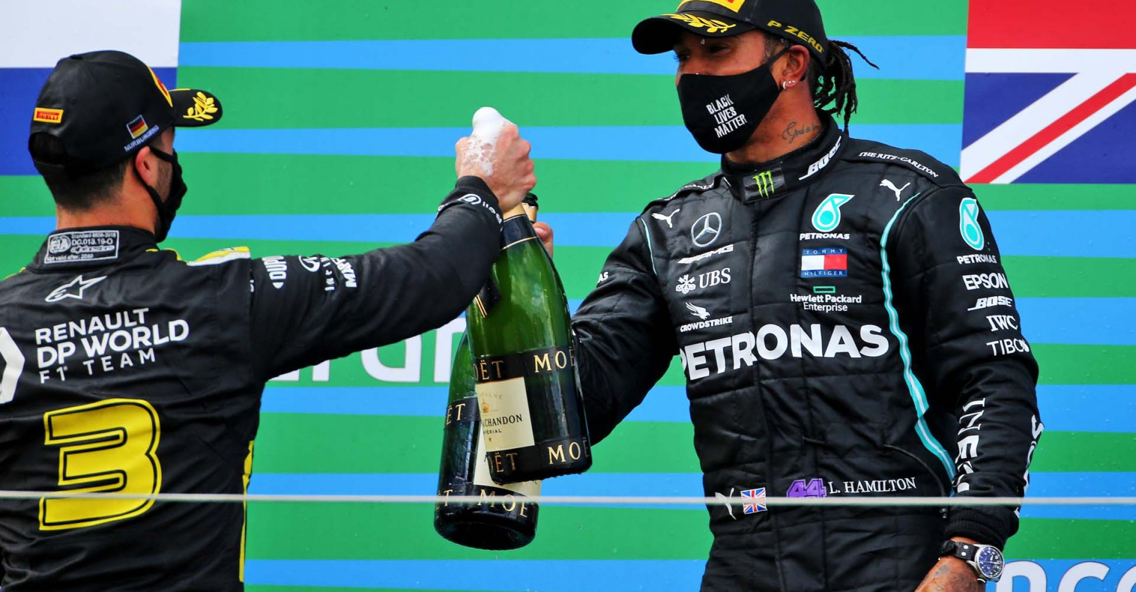 (L to R): Daniel Ricciardo (AUS) Renault F1 Team celebrates his third position on the podium with race winner Lewis Hamilton (GBR) Mercedes AMG F1. Eifel Grand Prix, Sunday 11th October 2020. Nurbugring, Germany.