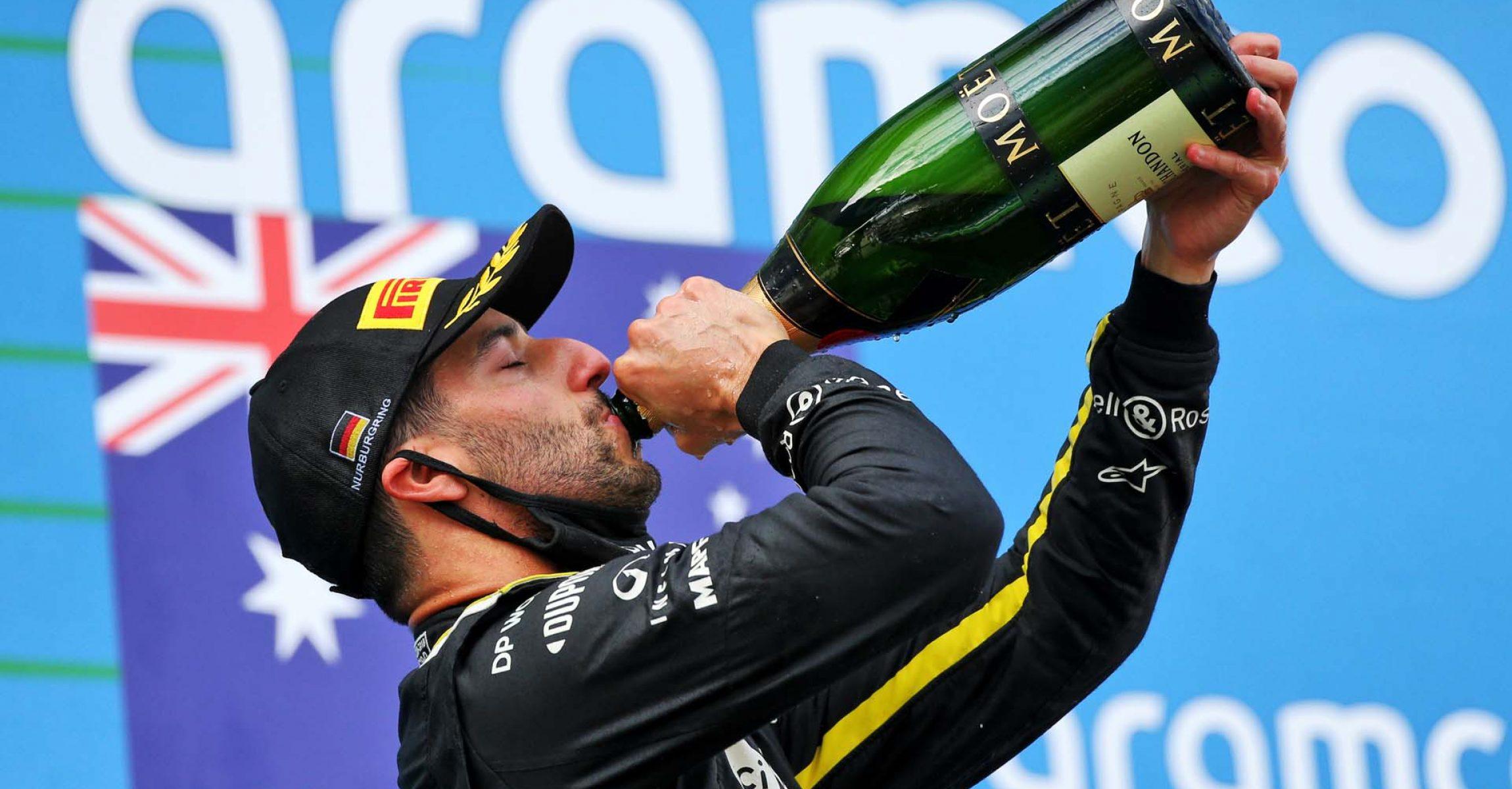 Daniel Ricciardo (AUS) Renault F1 Team celebrates his third position on the podium. Eifel Grand Prix, Sunday 11th October 2020. Nurbugring, Germany.