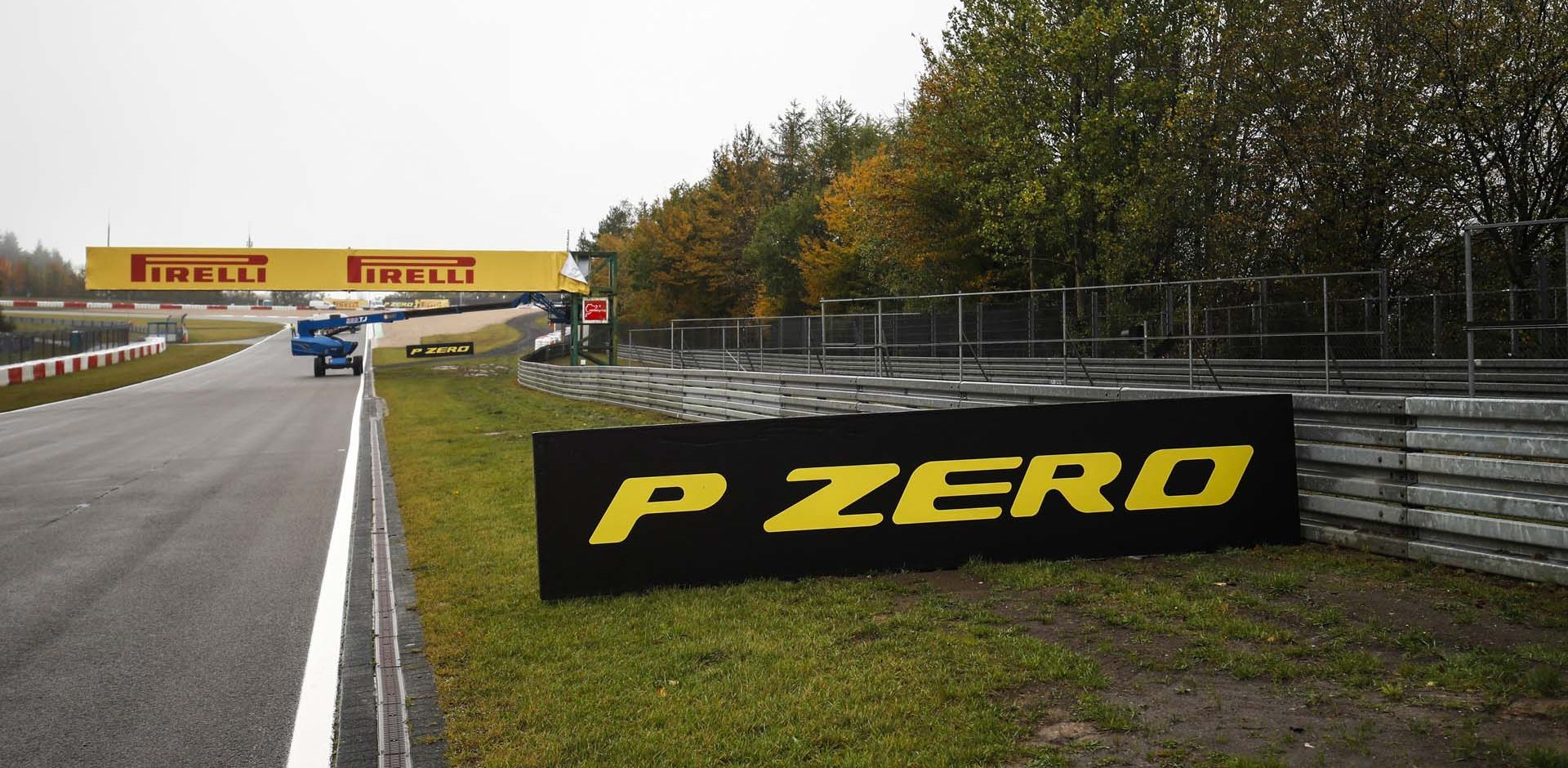 N√ľRBURGRING, GERMANY - OCTOBER 08: Pirelli and P Zero branding around the circuit during the Eifel GP at N√ľrburgring on Thursday October 08, 2020, Germany. (Photo by Zak Mauger / LAT Images)