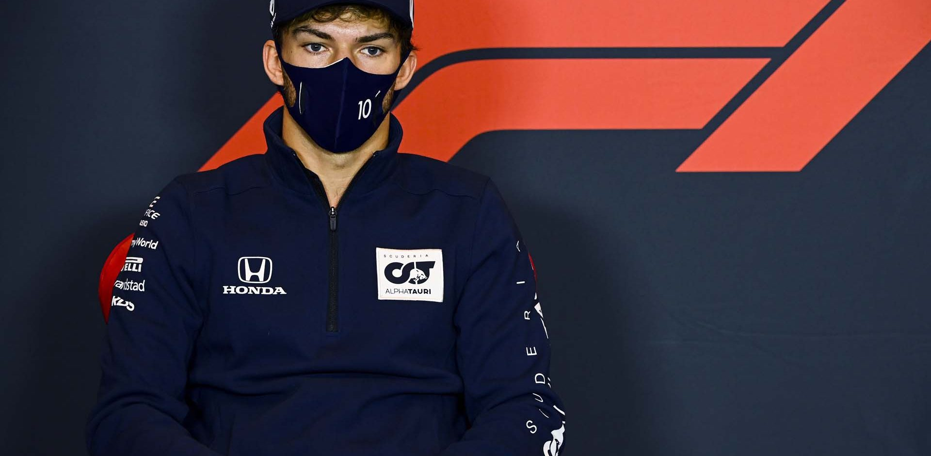 IMOLA, ITALY - OCTOBER 30: Pierre Gasly of France and Scuderia AlphaTauri talks in the Drivers Press Conference during previews ahead of the F1 Grand Prix of Emilia Romagna at Autodromo Enzo e Dino Ferrari on October 30, 2020 in Imola, Italy. (Photo by Mark Sutton - Pool/Getty Images)