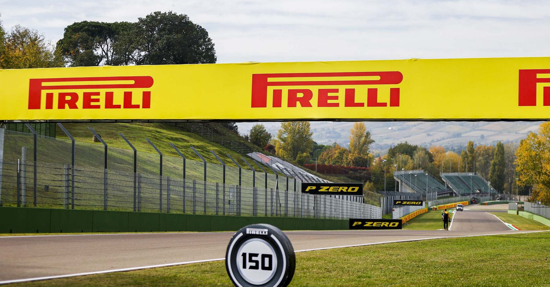 IMOLA, ITALY - OCTOBER 30: Pirelli Sponsor signage and distance markers during the Emilia-Romagna GP at Imola on Friday October 30, 2020, Italy. (Photo by Andy Hone)