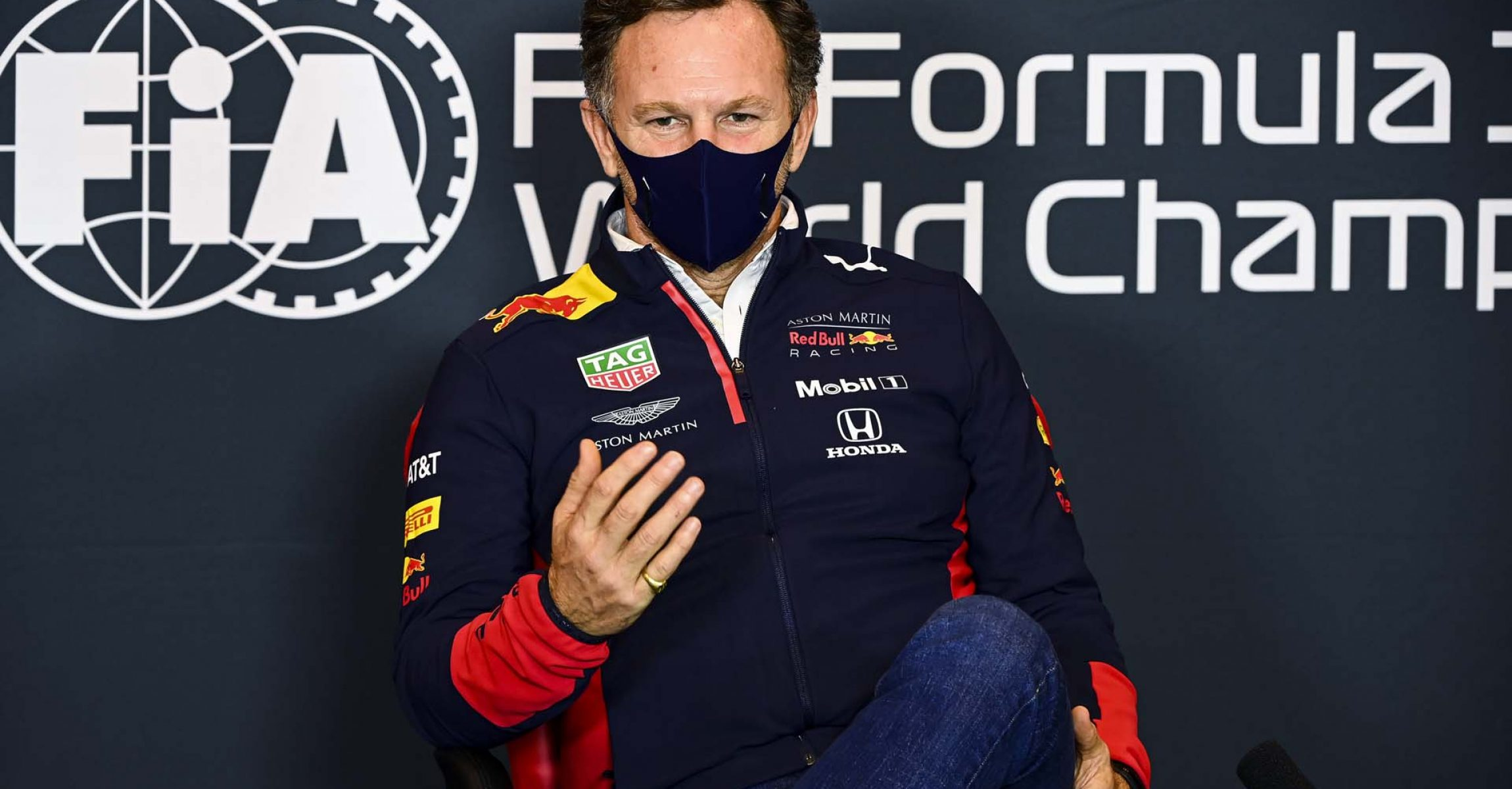 IMOLA, ITALY - OCTOBER 30: Red Bull Racing Team Principal Christian Horner talks in the Drivers Press Conference during previews ahead of the F1 Grand Prix of Emilia Romagna at Autodromo Enzo e Dino Ferrari on October 30, 2020 in Imola, Italy. (Photo by Mark Sutton - Pool/Getty Images)