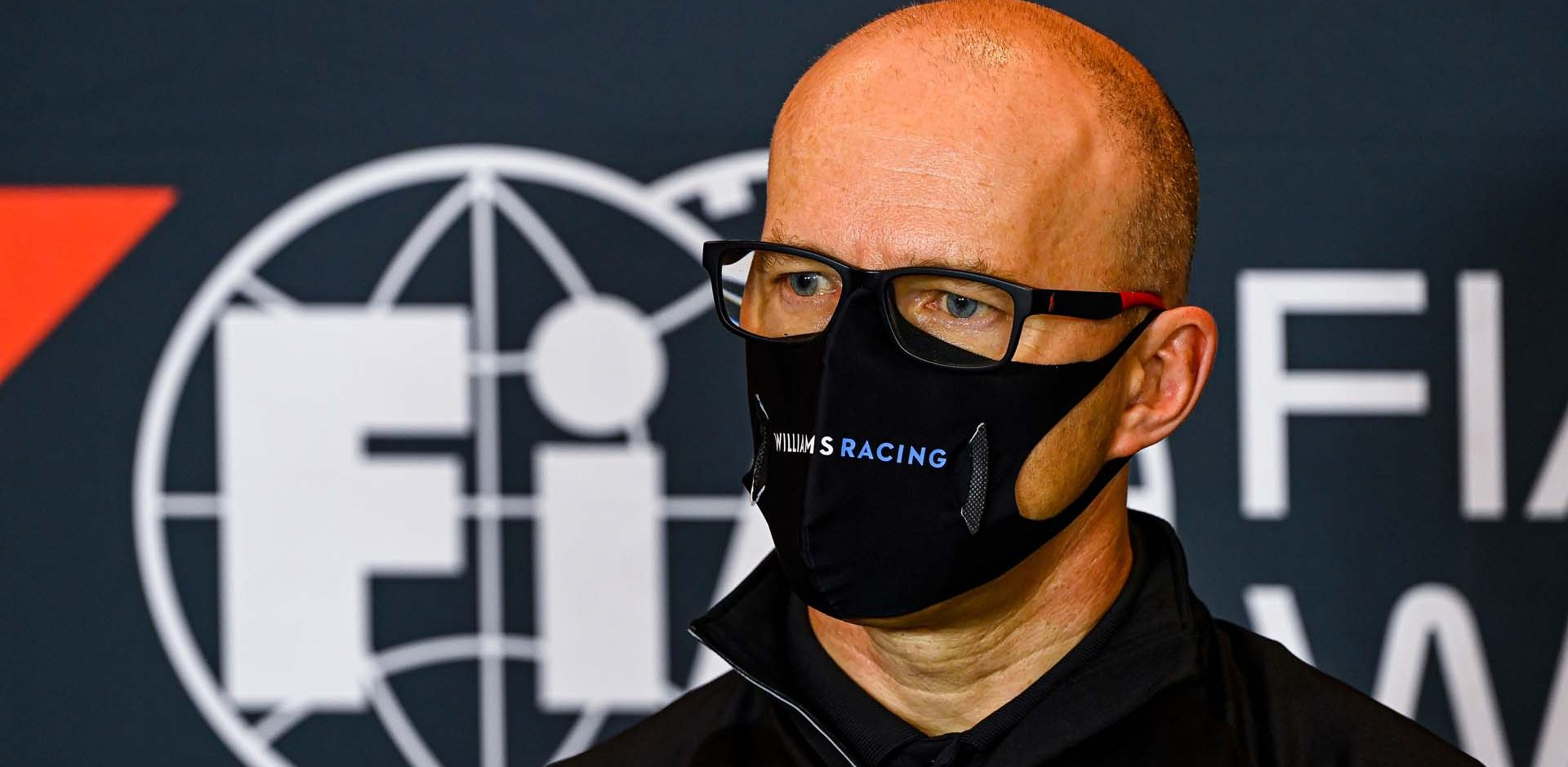 Simon Roberts (GBR) Williams Racing F1 Acting Team Principal in the FIA Press Conference. Emilia Romagna Grand Prix, Friday 29th October 2020. Imola, Italy. FIA Pool Image for Editorial Use Only