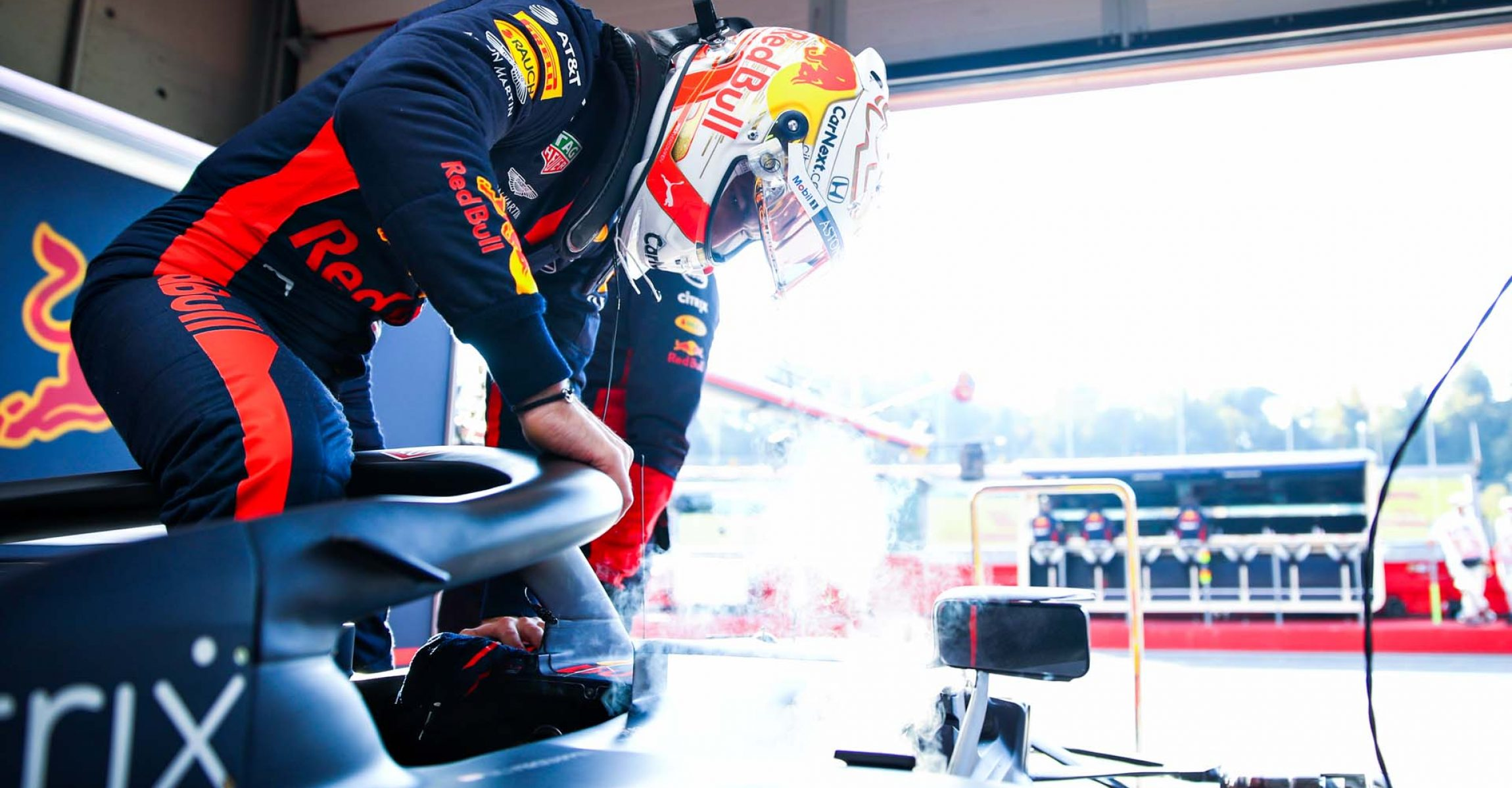 IMOLA, ITALY - OCTOBER 31: Max Verstappen of Netherlands and Red Bull Racing prepares to drive in the garage during practice ahead of the F1 Grand Prix of Emilia Romagna at Autodromo Enzo e Dino Ferrari on October 31, 2020 in Imola, Italy. (Photo by Mark Thompson/Getty Images)