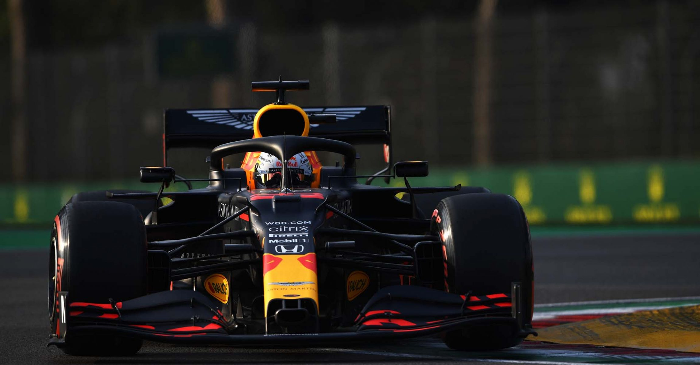 IMOLA, ITALY - OCTOBER 31: Max Verstappen of the Netherlands driving the (33) Aston Martin Red Bull Racing RB16 on track during qualifying ahead of the F1 Grand Prix of Emilia Romagna at Autodromo Enzo e Dino Ferrari on October 31, 2020 in Imola, Italy. (Photo by Rudy Carezzevoli/Getty Images)