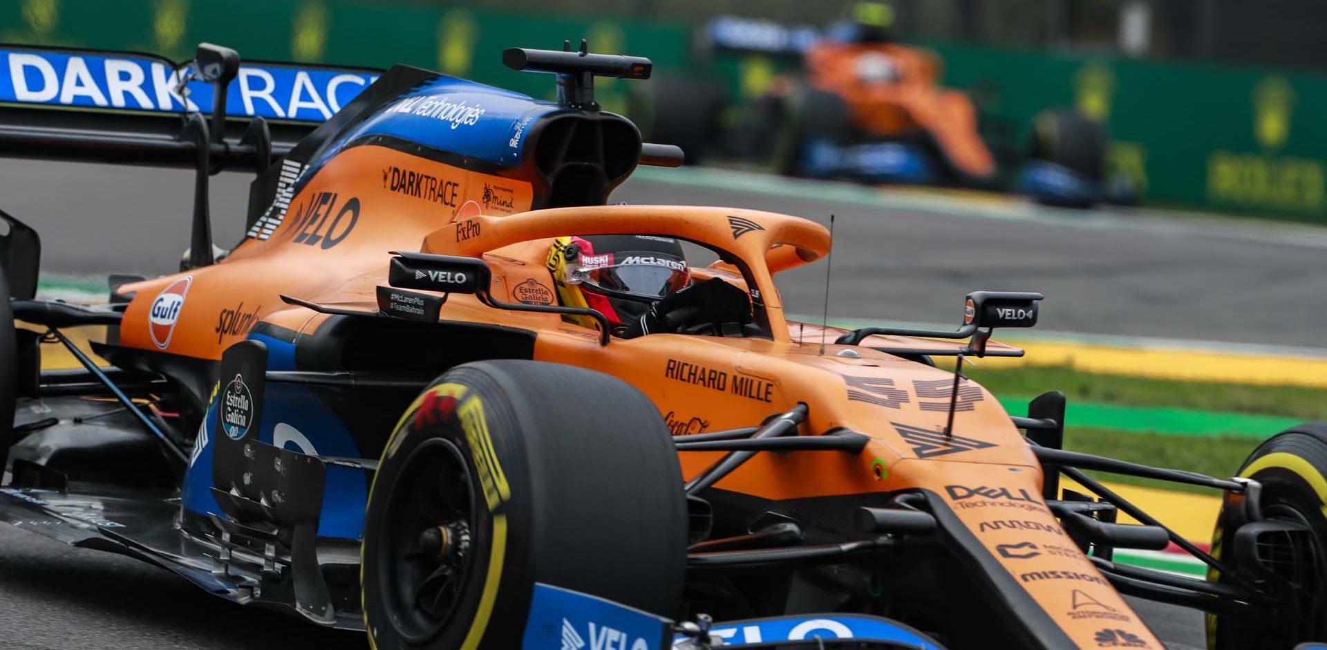 Carlos Sainz, McLaren MCL35, leads Lando Norris, McLaren MCL35, through a chicane