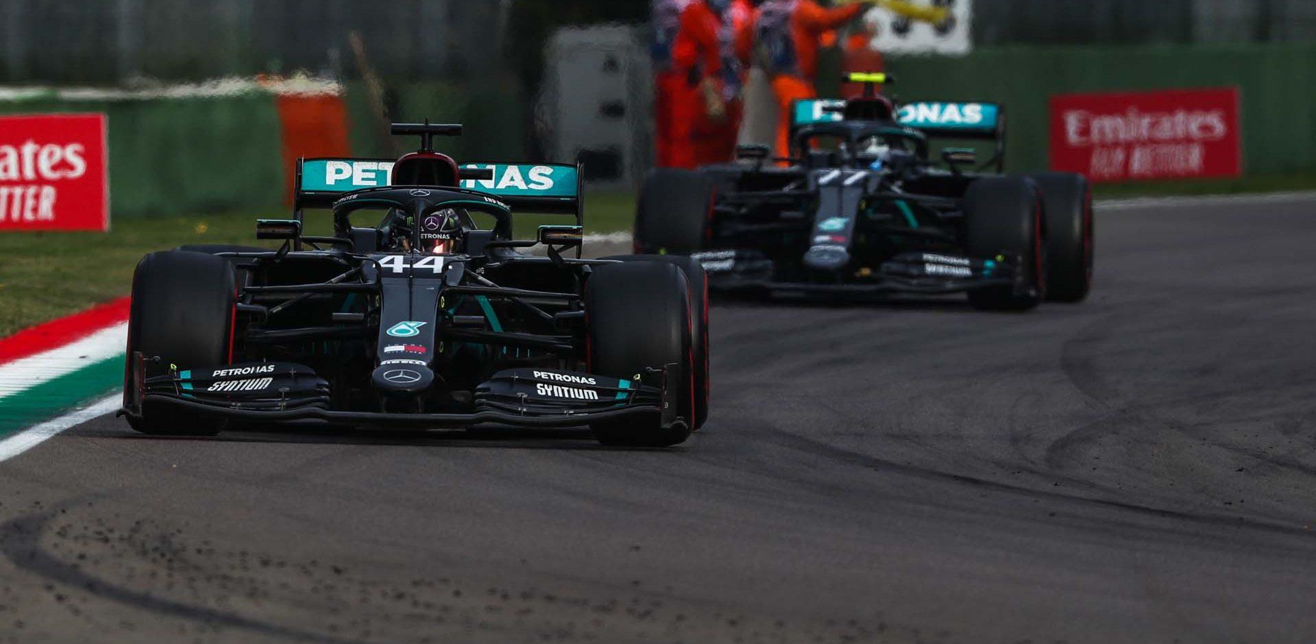 2020 Emilia Romagna Grand Prix, Sunday - LAT images Lewis Hamilton Valtteri Bottas Mercedes