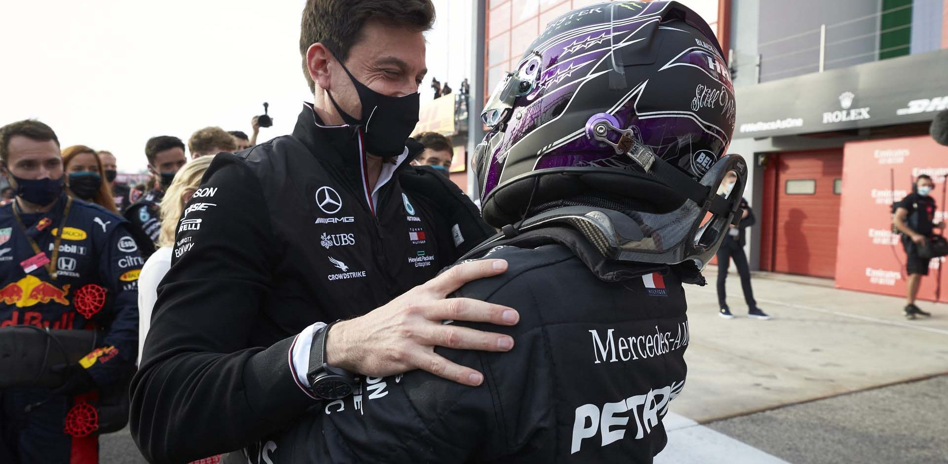2020 Emilia Romagna Grand Prix, Sunday - Steve Etherington Toto Wolff Lewis Hamilton