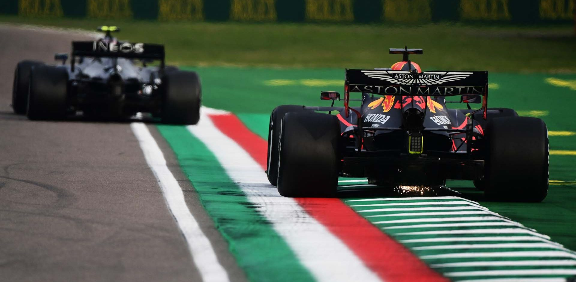 IMOLA, ITALY - NOVEMBER 01: Max Verstappen of the Netherlands driving the (33) Aston Martin Red Bull Racing RB16 on track during the F1 Grand Prix of Emilia Romagna at Autodromo Enzo e Dino Ferrari on November 01, 2020 in Imola, Italy. (Photo by Miguel Medina - Pool/Getty Images)