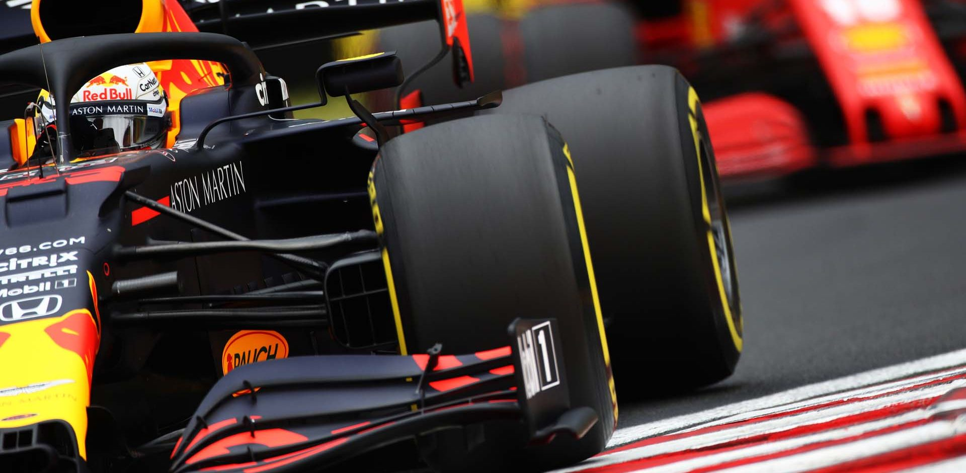 BUDAPEST, HUNGARY - JULY 18: Max Verstappen of the Netherlands driving the (33) Aston Martin Red Bull Racing RB16 on track during final practice for the F1 Grand Prix of Hungary at Hungaroring on July 18, 2020 in Budapest, Hungary. (Photo by Mark Thompson/Getty Images) // Getty Images / Red Bull Content Pool  // AP-24NTXQ9FS2111 // Usage for editorial use only // Ferrari Charles Leclerc