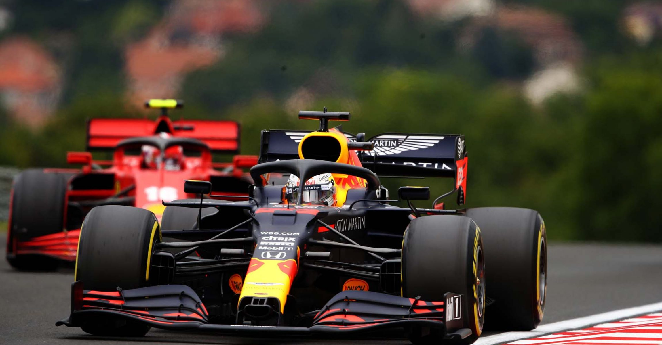 BUDAPEST, HUNGARY - JULY 18: Max Verstappen of the Netherlands driving the (33) Aston Martin Red Bull Racing RB16 on track during final practice for the F1 Grand Prix of Hungary at Hungaroring on July 18, 2020 in Budapest, Hungary. (Photo by Bryn Lennon/Getty Images) // Getty Images / Red Bull Content Pool  // AP-24NU2D2B52111 // Usage for editorial use only // Ferrari Charles Leclerc