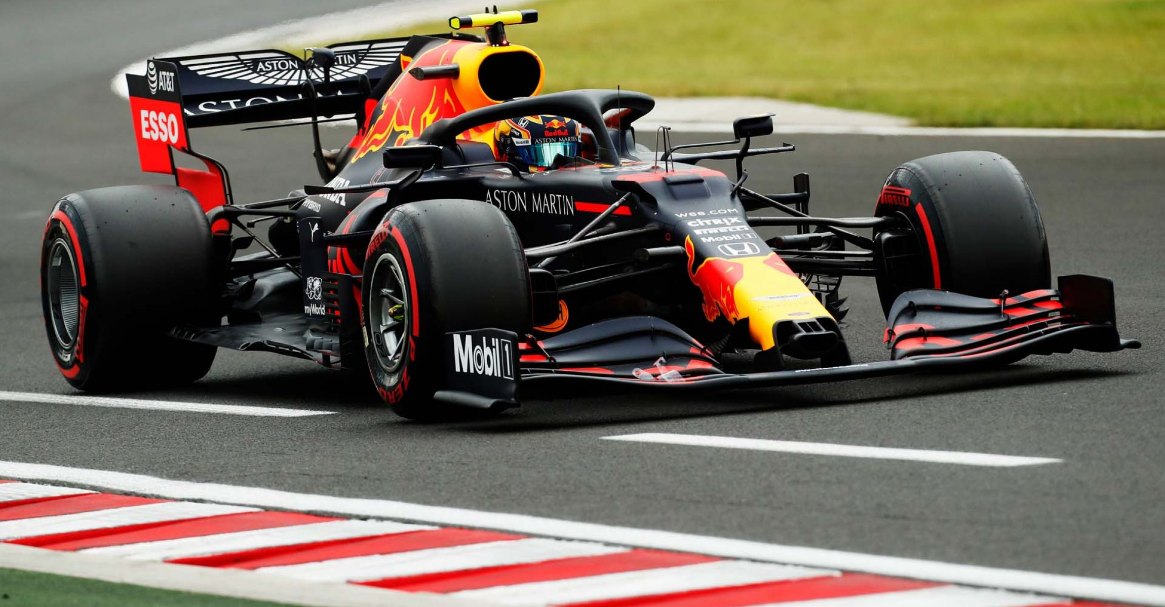 BUDAPEST, HUNGARY - JULY 18: Alexander Albon of Thailand driving the (23) Aston Martin Red Bull Racing RB16 on track during qualifying for the F1 Grand Prix of Hungary at Hungaroring on July 18, 2020 in Budapest, Hungary. (Photo by Darko Bandic/Pool via Getty Images) // Getty Images / Red Bull Content Pool // AP-24NVWU1412111 // Usage for editorial use only //
