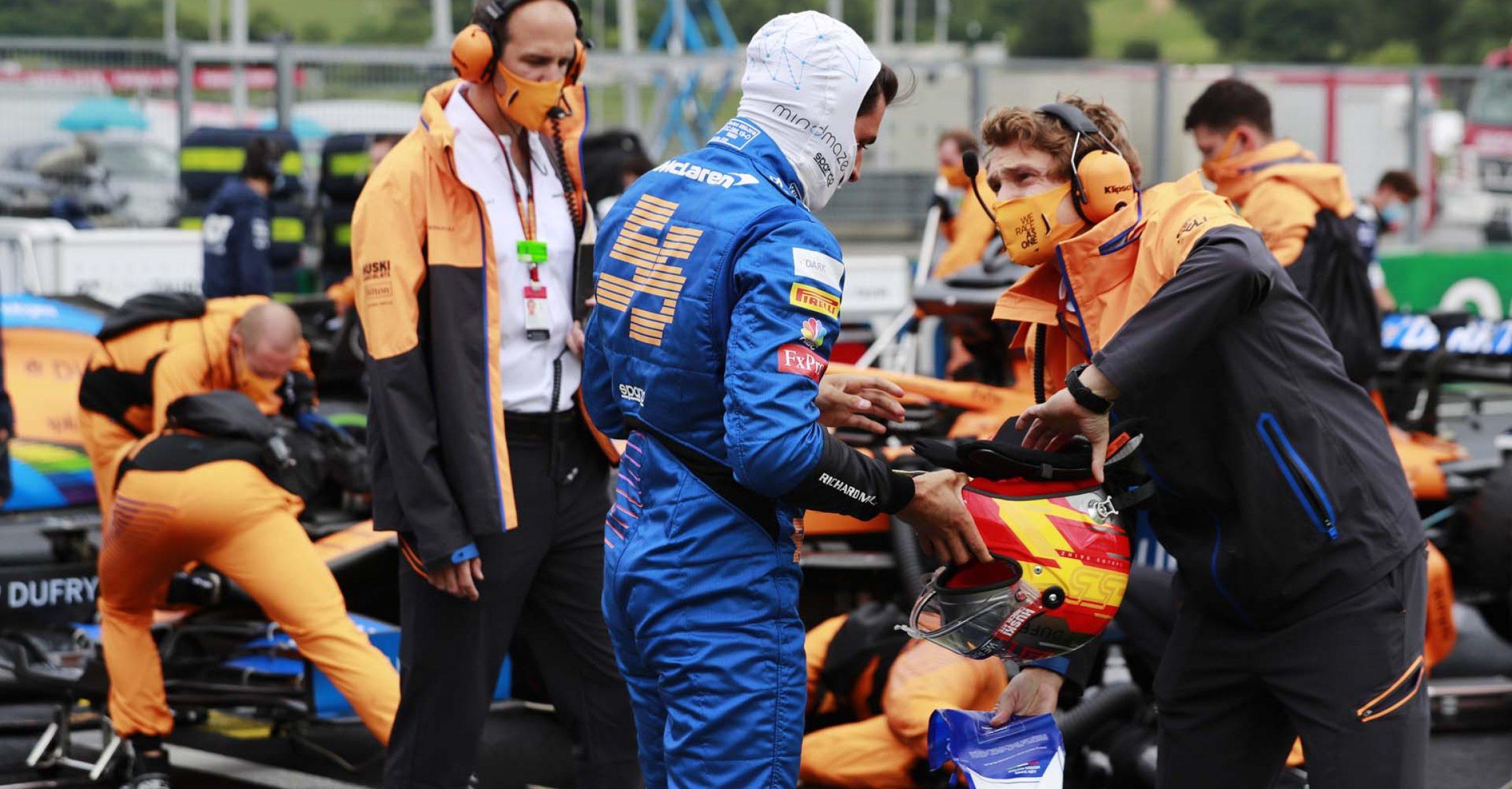 Carlos Sainz, McLaren, on the grid