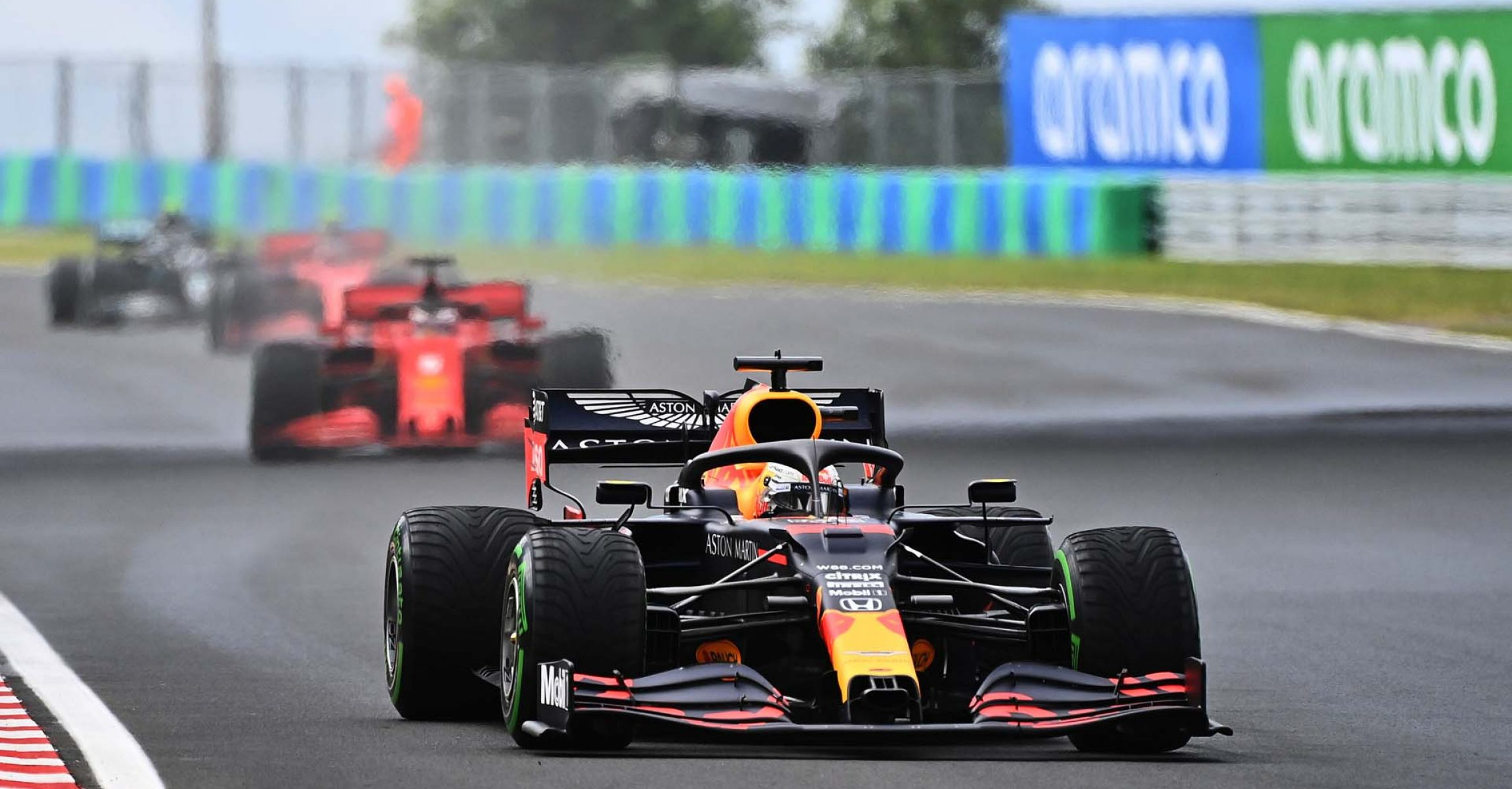 BUDAPEST, HUNGARY - JULY 19: Max Verstappen of the Netherlands driving the (33) Aston Martin Red Bull Racing RB16 on track during the Formula One Grand Prix of Hungary at Hungaroring on July 19, 2020 in Budapest, Hungary. (Photo by Joe Klamar/Pool via Getty Images) // Getty Images / Red Bull Content Pool  // AP-24P6FN1E52111 // Usage for editorial use only //