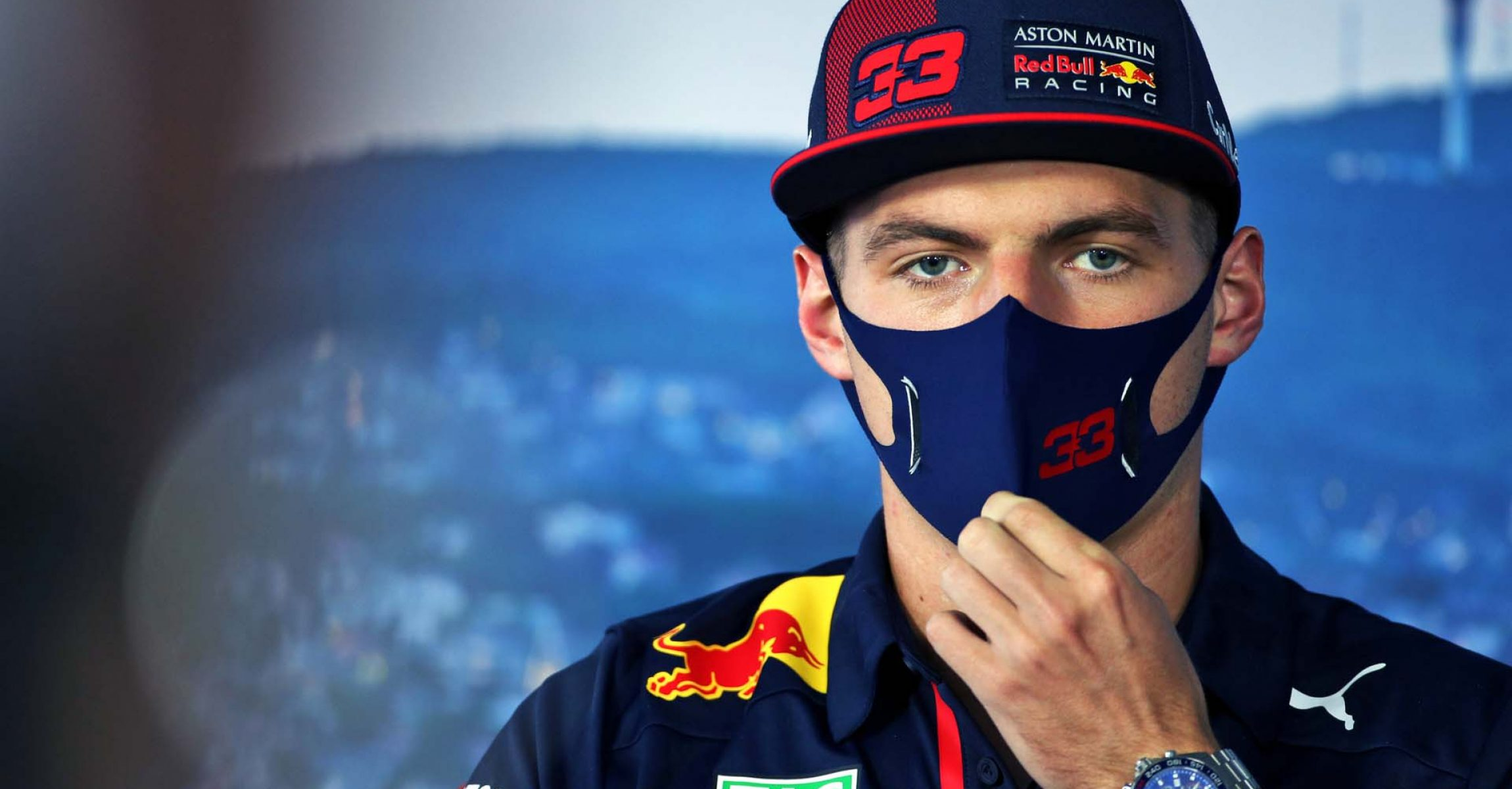 BUDAPEST, HUNGARY - JULY 16: Max Verstappen of Netherlands and Red Bull Racing talks in the Drivers Press Conference during previews for the F1 Grand Prix of Hungary at Hungaroring on July 16, 2020 in Budapest, Hungary. (Photo by Laurent Charniaux/Pool via Getty Images) // Getty Images / Red Bull Content Pool  // AP-24N88WX6N1W11 // Usage for editorial use only //