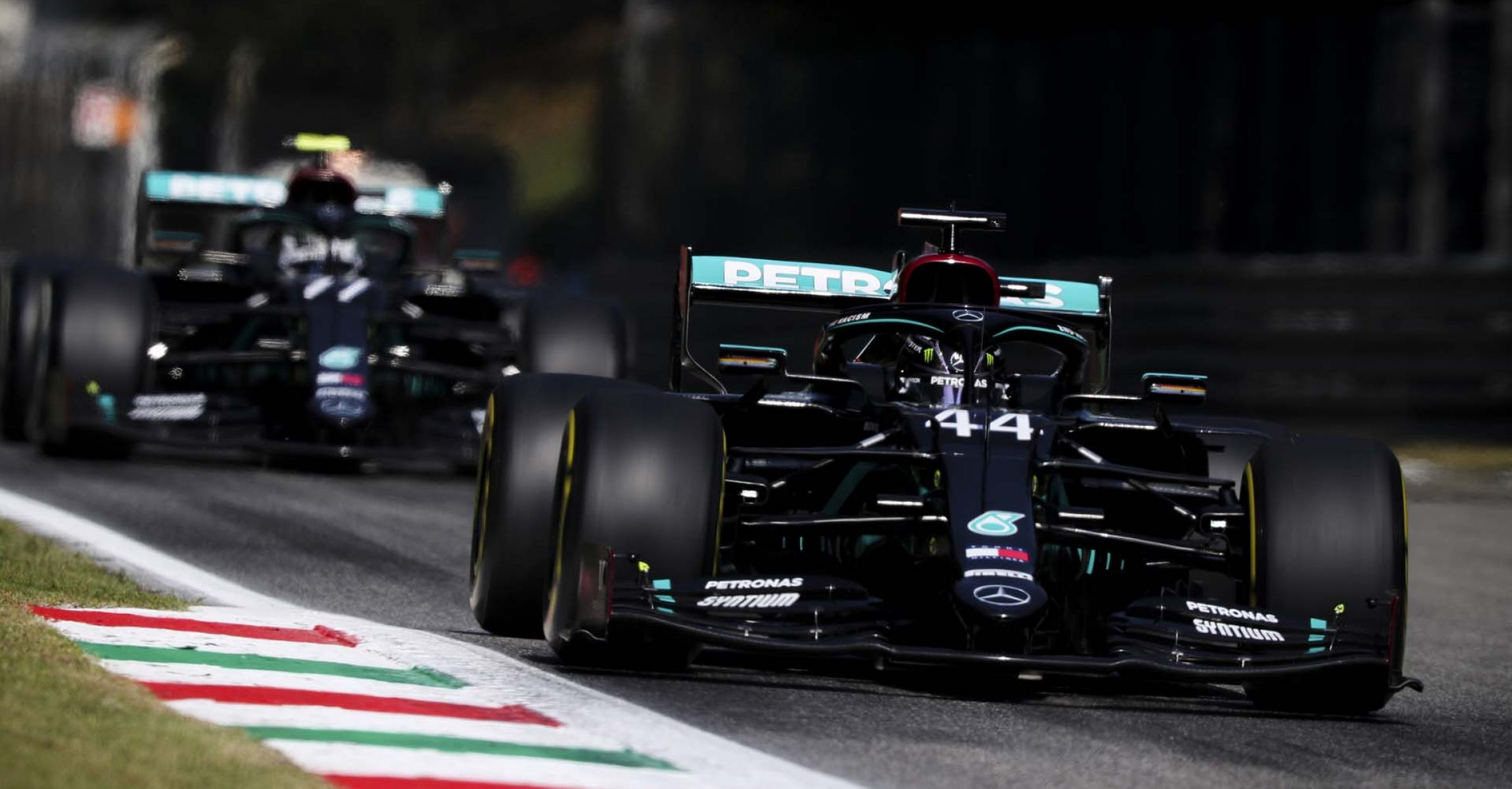 2020 Italian Grand Prix, Friday - LAT Images Lewis Hamilton Mercedes followed by Valtteri Bottas