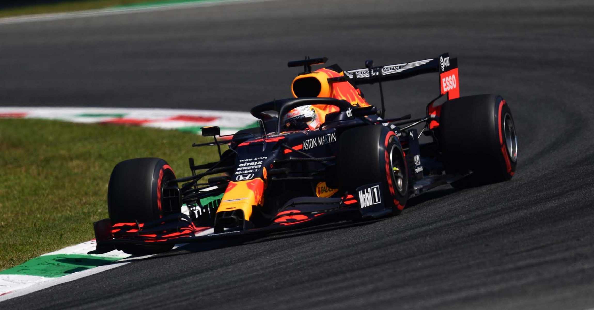 MONZA, ITALY - SEPTEMBER 04: Max Verstappen of the Netherlands driving the (33) Aston Martin Red Bull Racing RB16 on track during practice for the F1 Grand Prix of Italy at Autodromo di Monza on September 04, 2020 in Monza, Italy. (Photo by Miguel Medina/Pool via Getty Images)