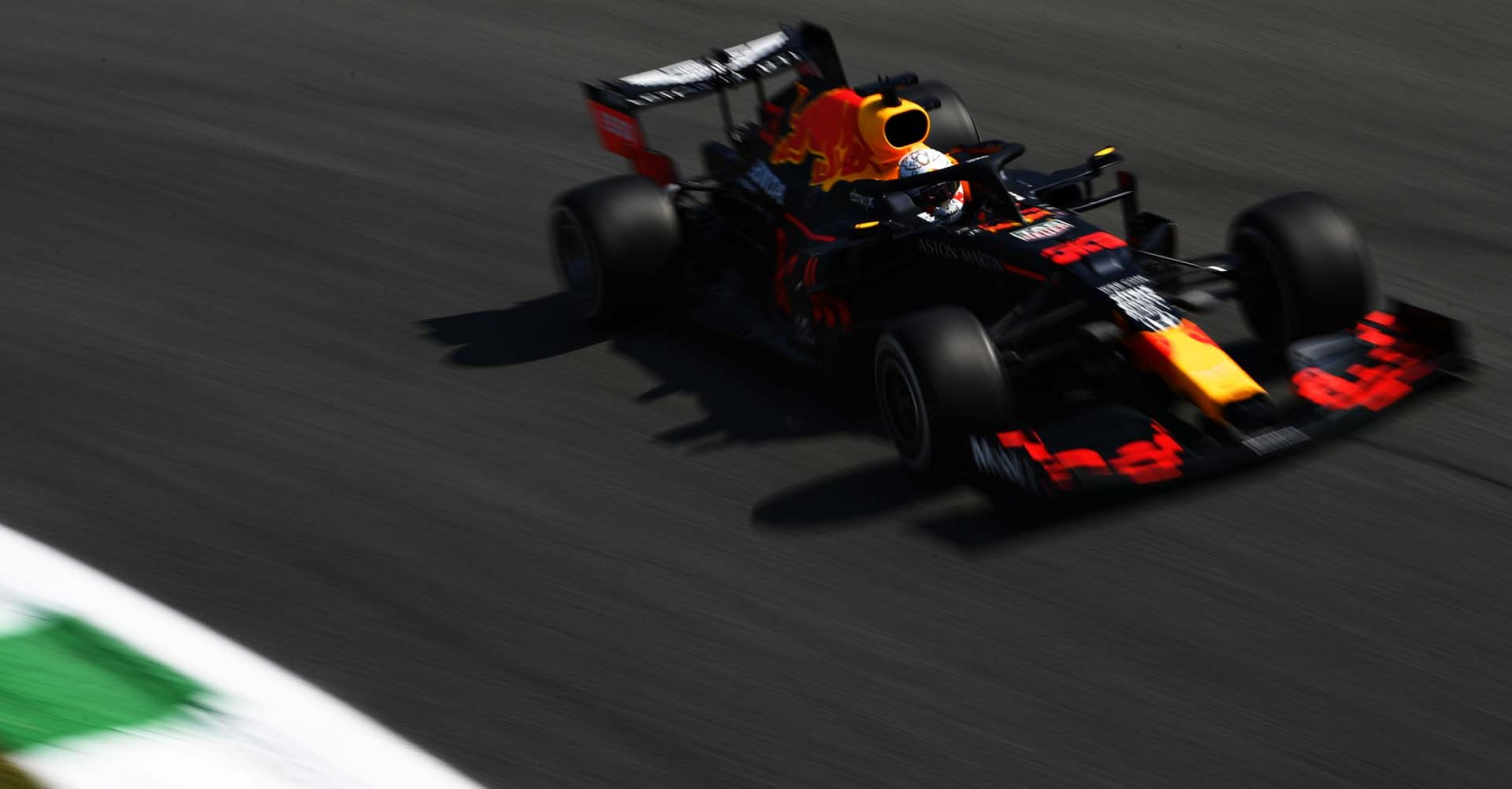 MONZA, ITALY - SEPTEMBER 04: Max Verstappen of the Netherlands driving the (33) Aston Martin Red Bull Racing RB16 during practice for the F1 Grand Prix of Italy at Autodromo di Monza on September 04, 2020 in Monza, Italy. (Photo by Rudy Carezzevoli/Getty Images)