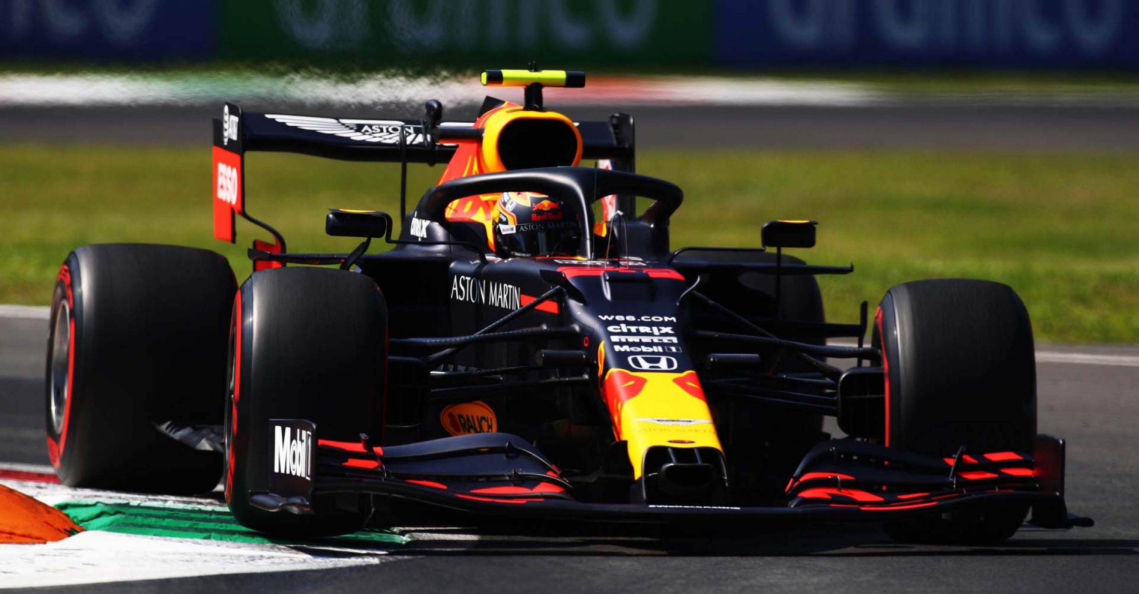 MONZA, ITALY - SEPTEMBER 04: Alexander Albon of Thailand driving the (23) Aston Martin Red Bull Racing RB16 on track during practice for the F1 Grand Prix of Italy at Autodromo di Monza on September 04, 2020 in Monza, Italy. (Photo by Mark Thompson/Getty Images,)