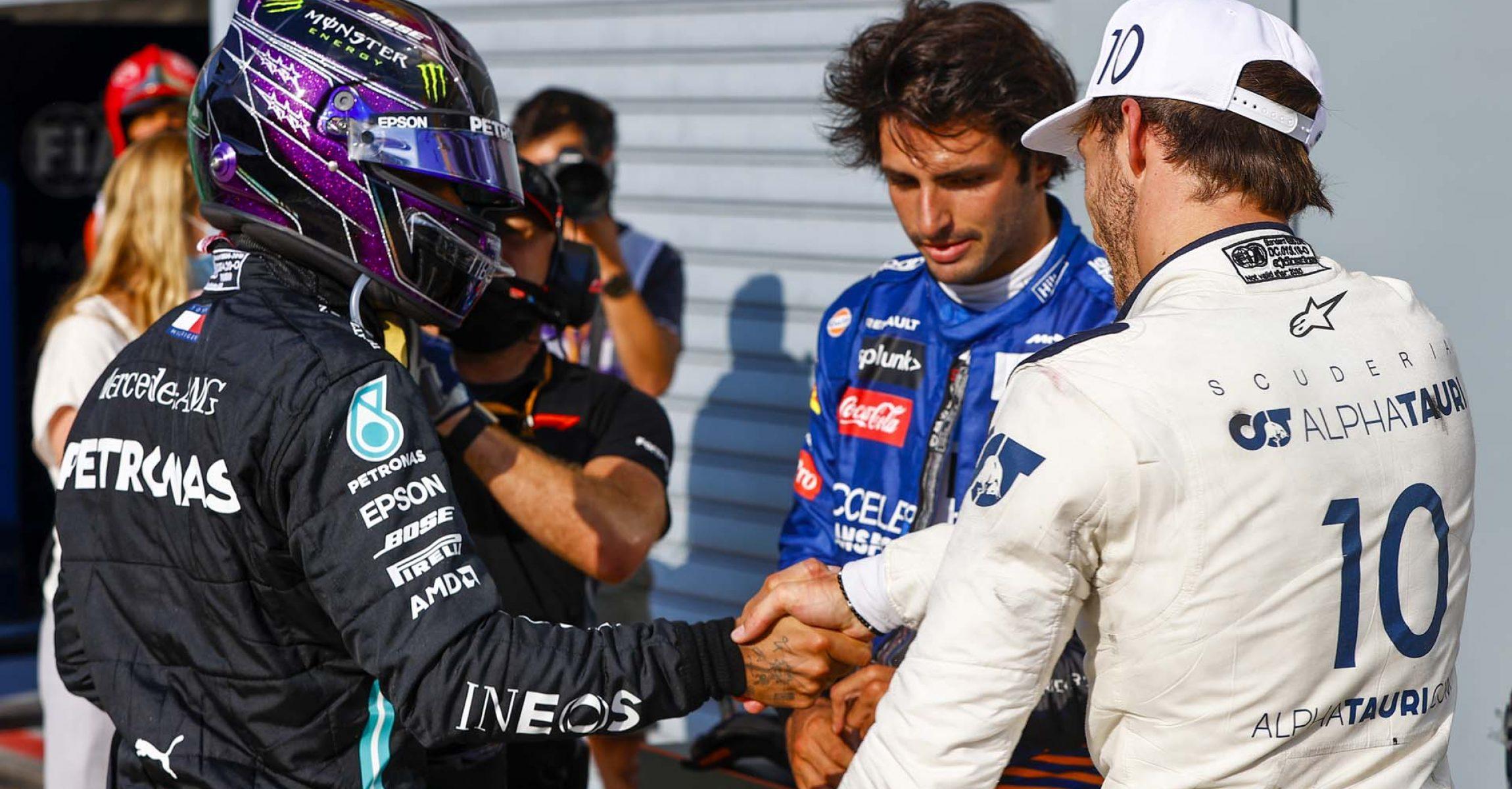 2020 Italian Grand Prix, Sunday - LAT Images Lewis Hamilton Carlos Sainz Pierre Gasly Mercedes