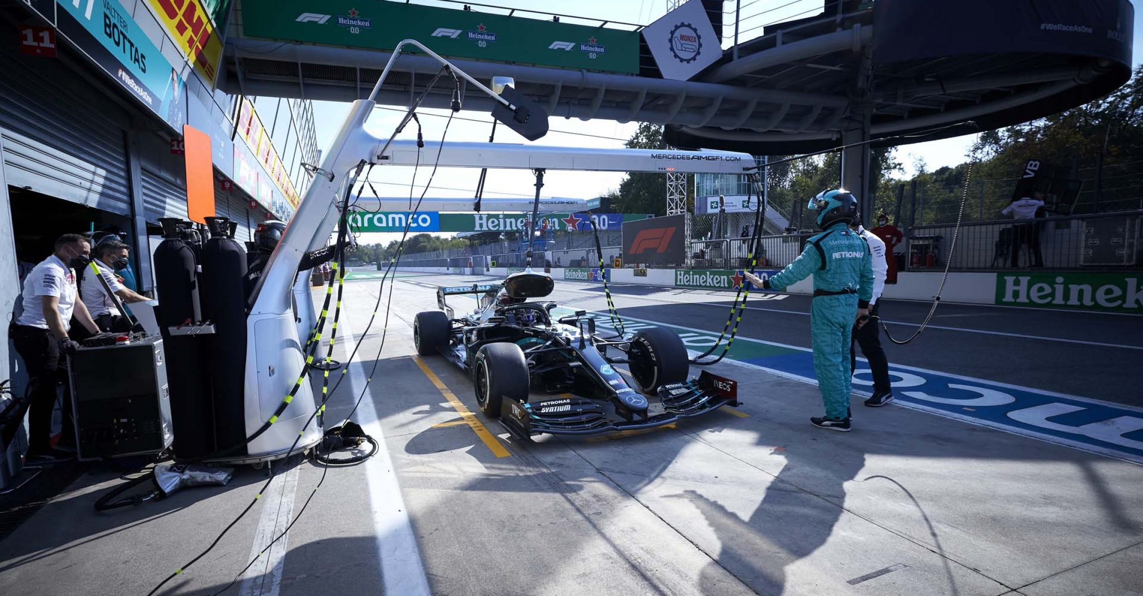 2020 Italian Grand Prix, Sunday - Steve Etherington Lewis Hamilton Mercedes 10 seconds stop-and-go penalty