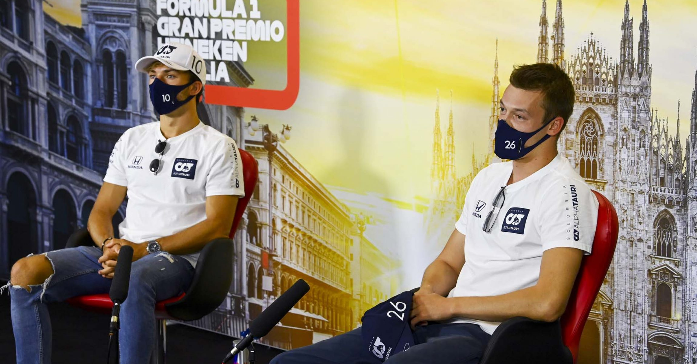 MONZA, ITALY - SEPTEMBER 03: Pierre Gasly of France and Scuderia AlphaTauri and Daniil Kvyat of Russia and Scuderia AlphaTauri talk in the Drivers Press Conference during previews ahead of the F1 Grand Prix of Italy at Autodromo di Monza on September 03, 2020 in Monza, Italy. (Photo by Mark Sutton/Pool via Getty Images)