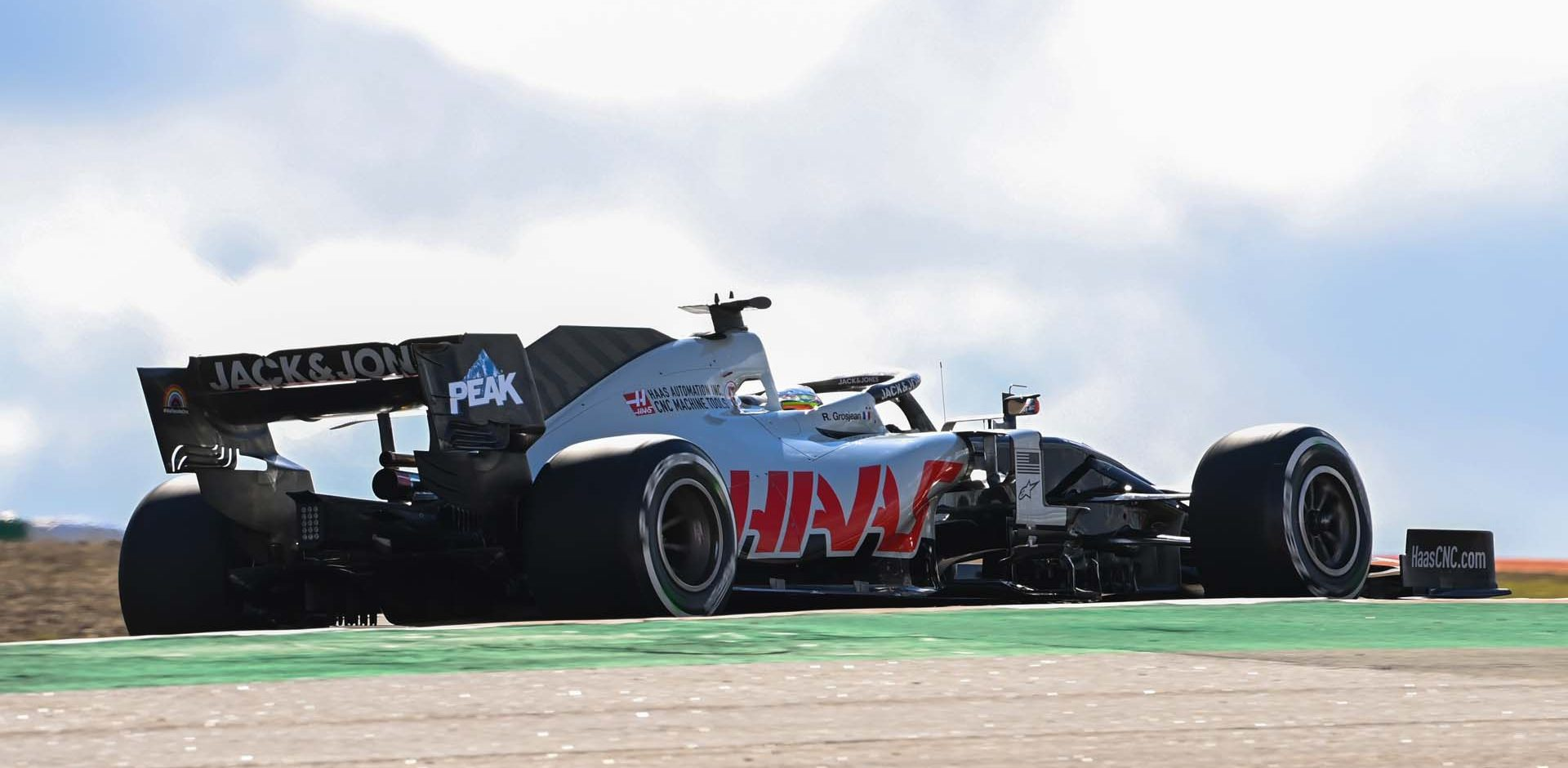 ALGARVE INTERNATIONAL CIRCUIT, PORTUGAL - OCTOBER 23: Romain Grosjean, Haas VF-20 during the Portuguese GP at Algarve International Circuit on Friday October 23, 2020, Portugal. (Photo by Mark Sutton / Sutton Images)
