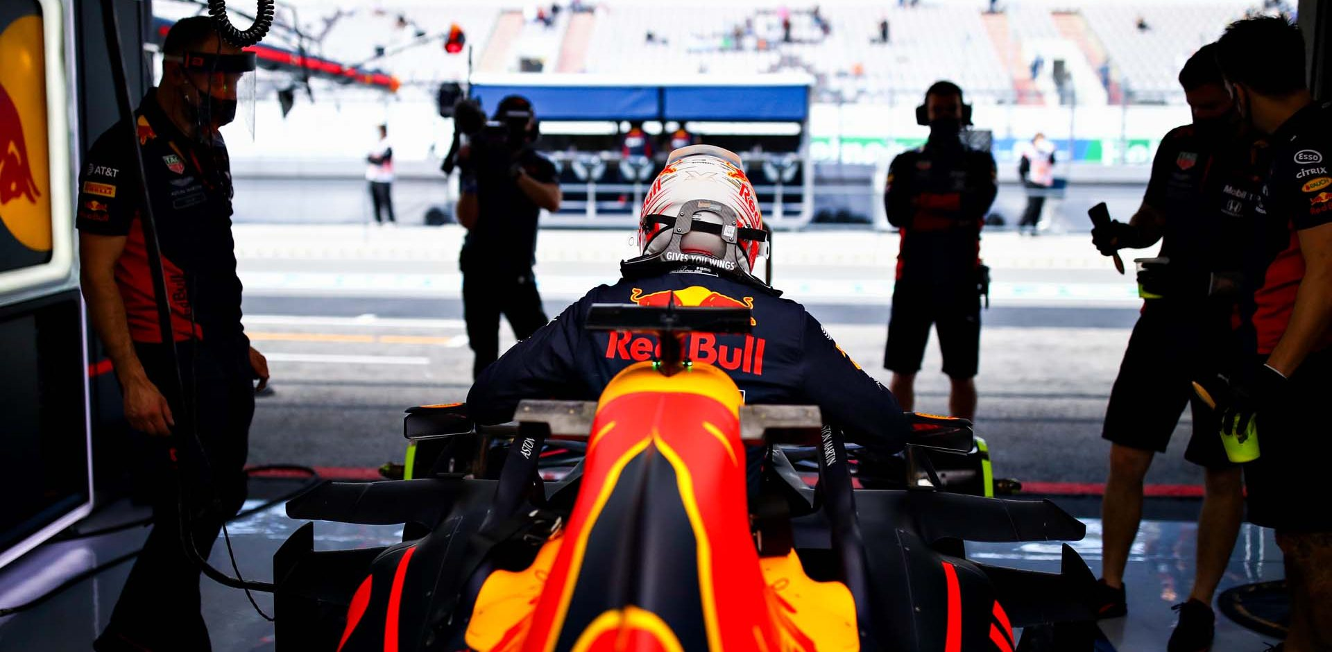 PORTIMAO, PORTUGAL - OCTOBER 23: Max Verstappen of Netherlands and Red Bull Racing prepares to drive in the garage during practice ahead of the F1 Grand Prix of Portugal at Autodromo Internacional do Algarve on October 23, 2020 in Portimao, Portugal. (Photo by Mark Thompson/Getty Images)