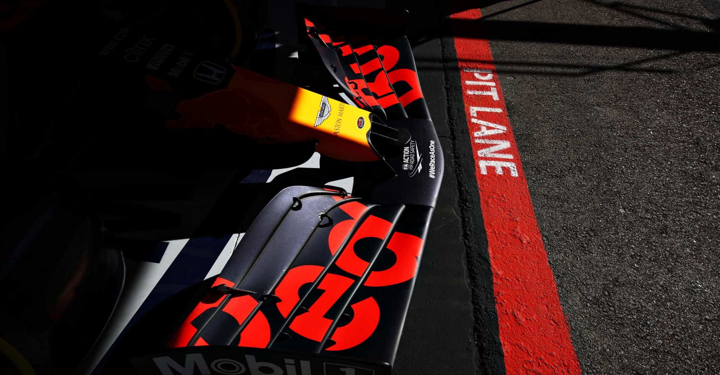 PORTIMAO, PORTUGAL - OCTOBER 23: A detail shot of the front wing of the Red Bull Racing RB16 during practice ahead of the F1 Grand Prix of Portugal at Autodromo Internacional do Algarve on October 23, 2020 in Portimao, Portugal. (Photo by Mark Thompson/Getty Images)