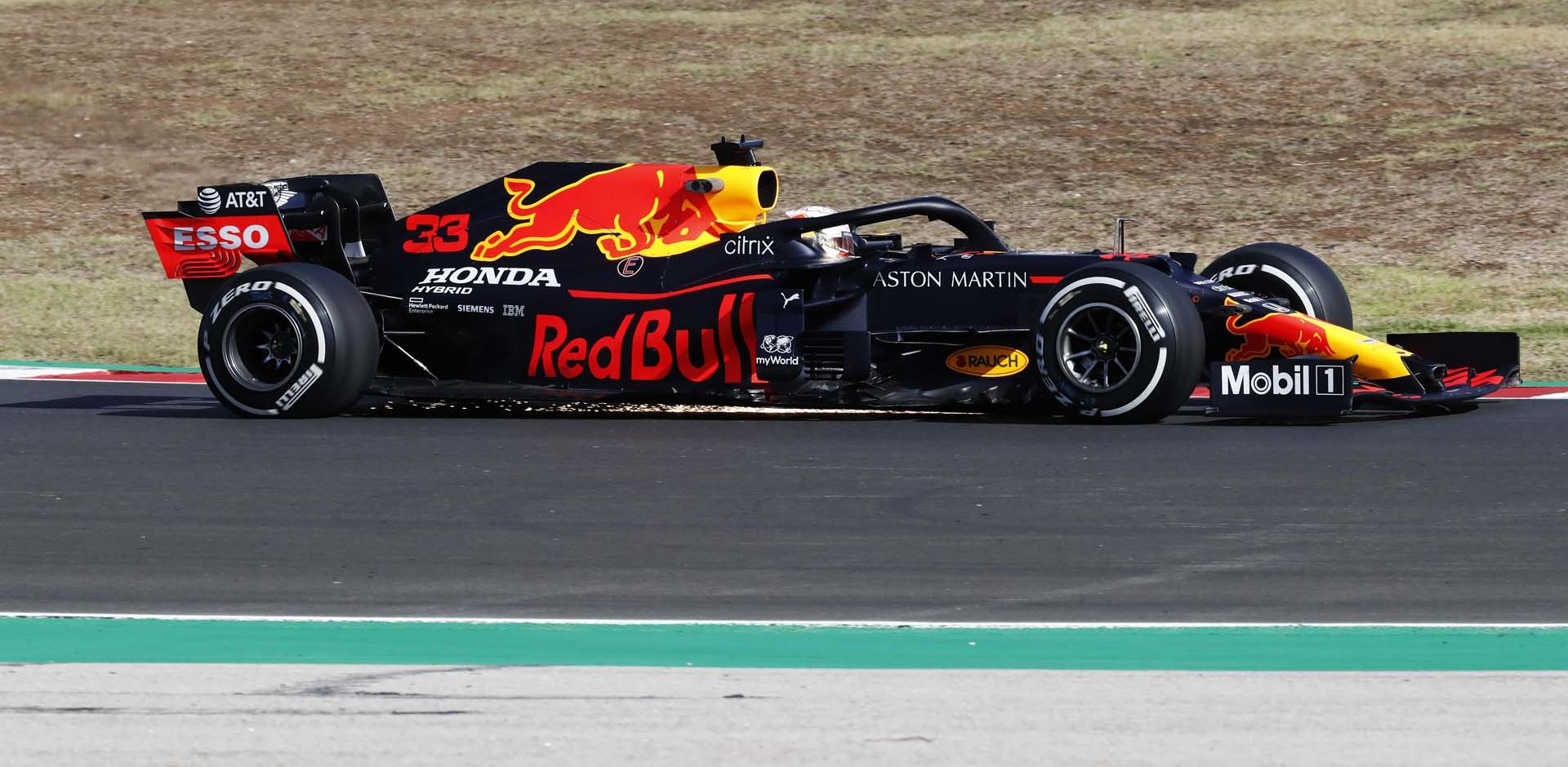 PORTIMAO, PORTUGAL - OCTOBER 23: Max Verstappen of the Netherlands driving the (33) Aston Martin Red Bull Racing RB16 on track during practice ahead of the F1 Grand Prix of Portugal at Autodromo Internacional do Algarve on October 23, 2020 in Portimao, Portugal. (Photo by Armando Franca - Pool/Getty Images)