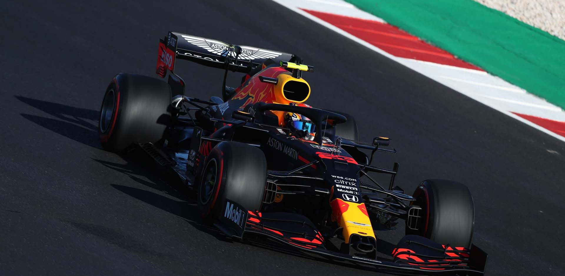 PORTIMAO, PORTUGAL - OCTOBER 23: Alexander Albon of Thailand driving the (23) Aston Martin Red Bull Racing RB16 on track during practice ahead of the F1 Grand Prix of Portugal at Autodromo Internacional do Algarve on October 23, 2020 in Portimao, Portugal. (Photo by Jose Sena Goulao - Pool/Getty Images)